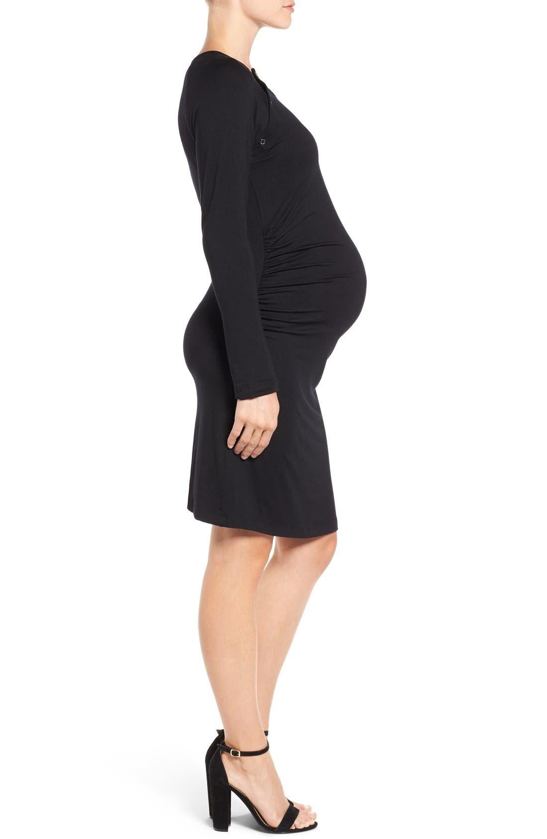 'Alex' Ruched Maternity/Nursing Dress,                             Alternate thumbnail 3, color,                             BLACK