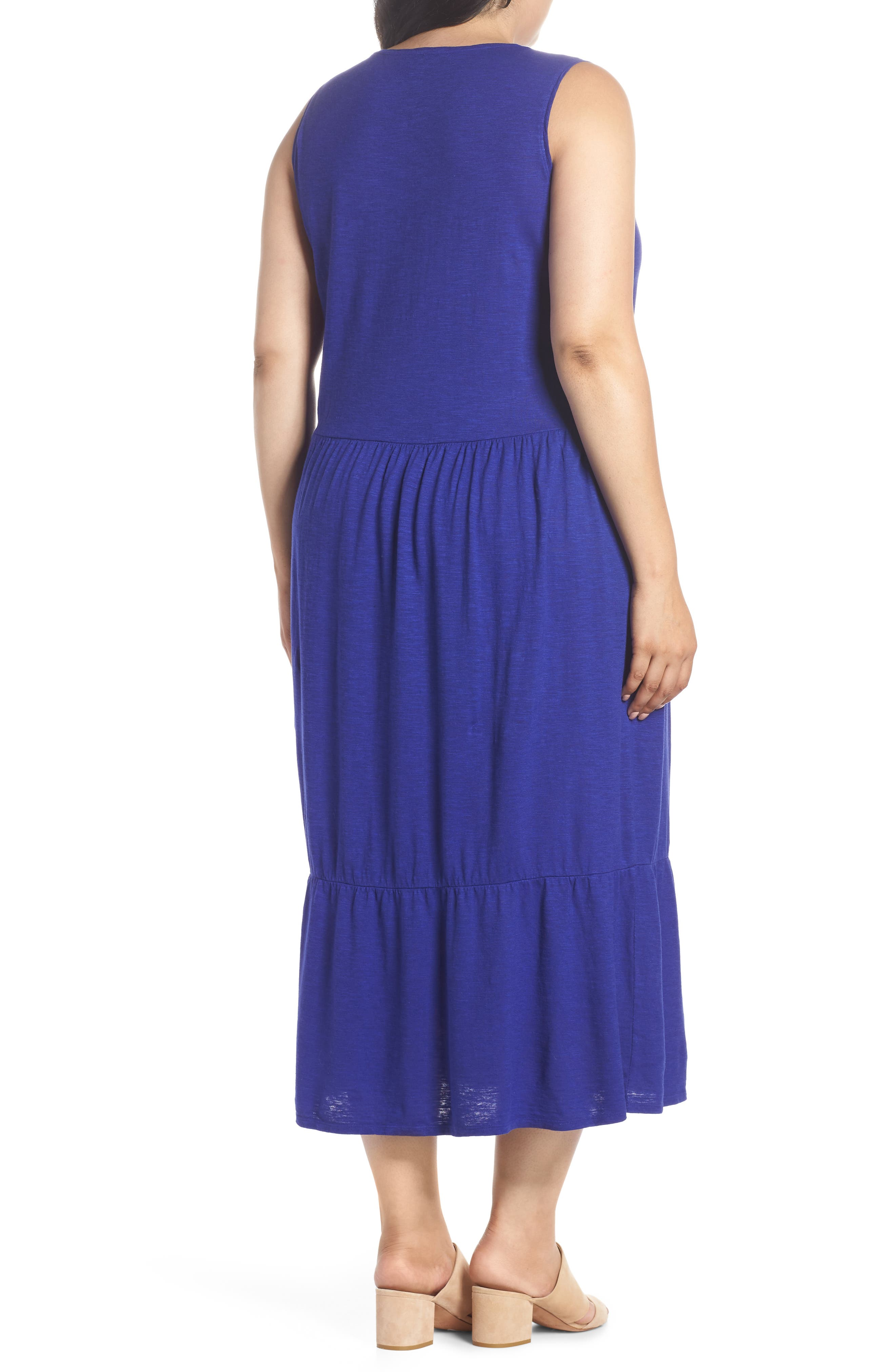 Scooped Neck Hemp & Cotton Midi Dress,                             Alternate thumbnail 2, color,                             BLUE VIOLET