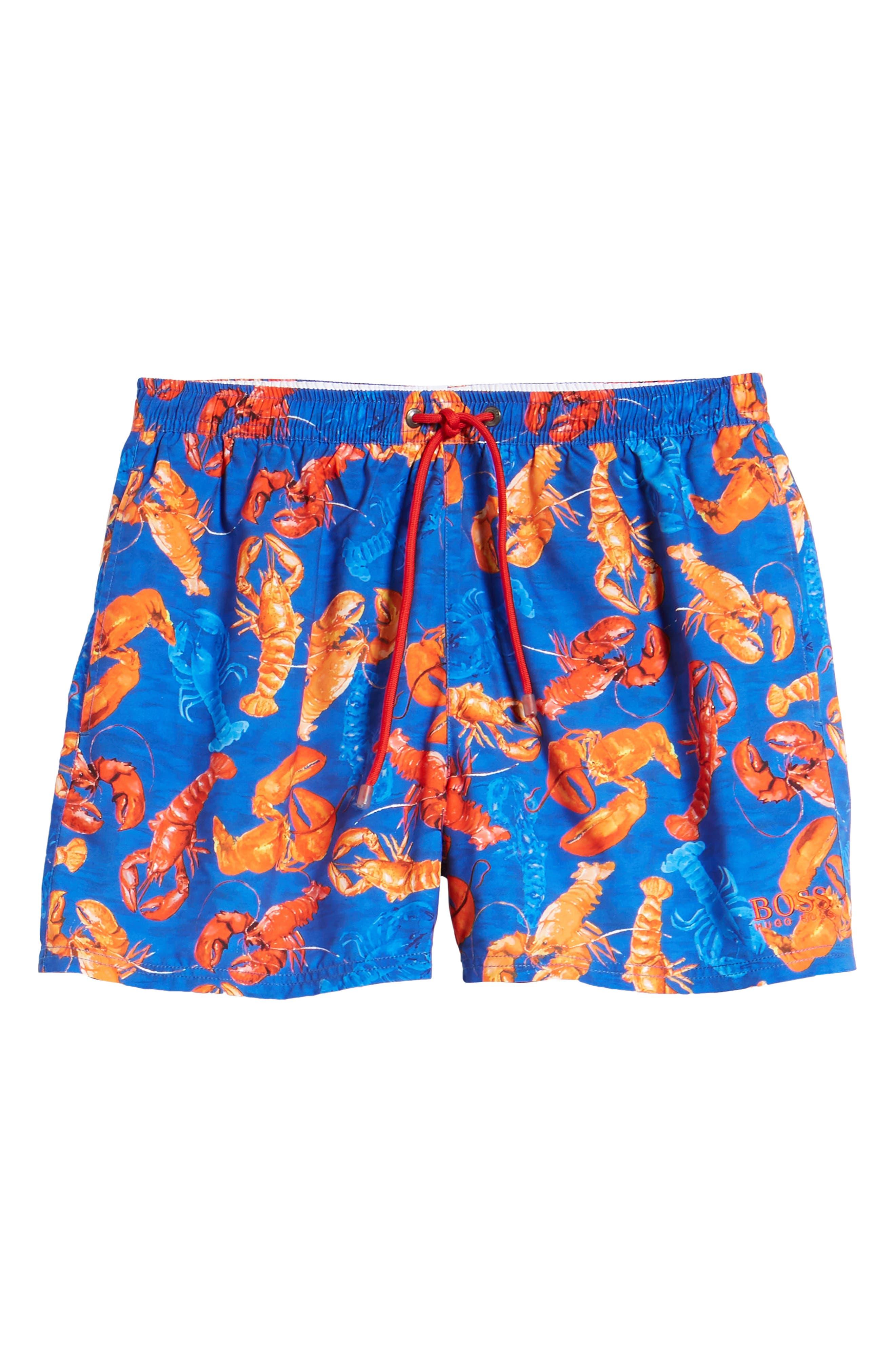 BOSS,                             Piranha Lobster Swim Trunks,                             Alternate thumbnail 6, color,                             460