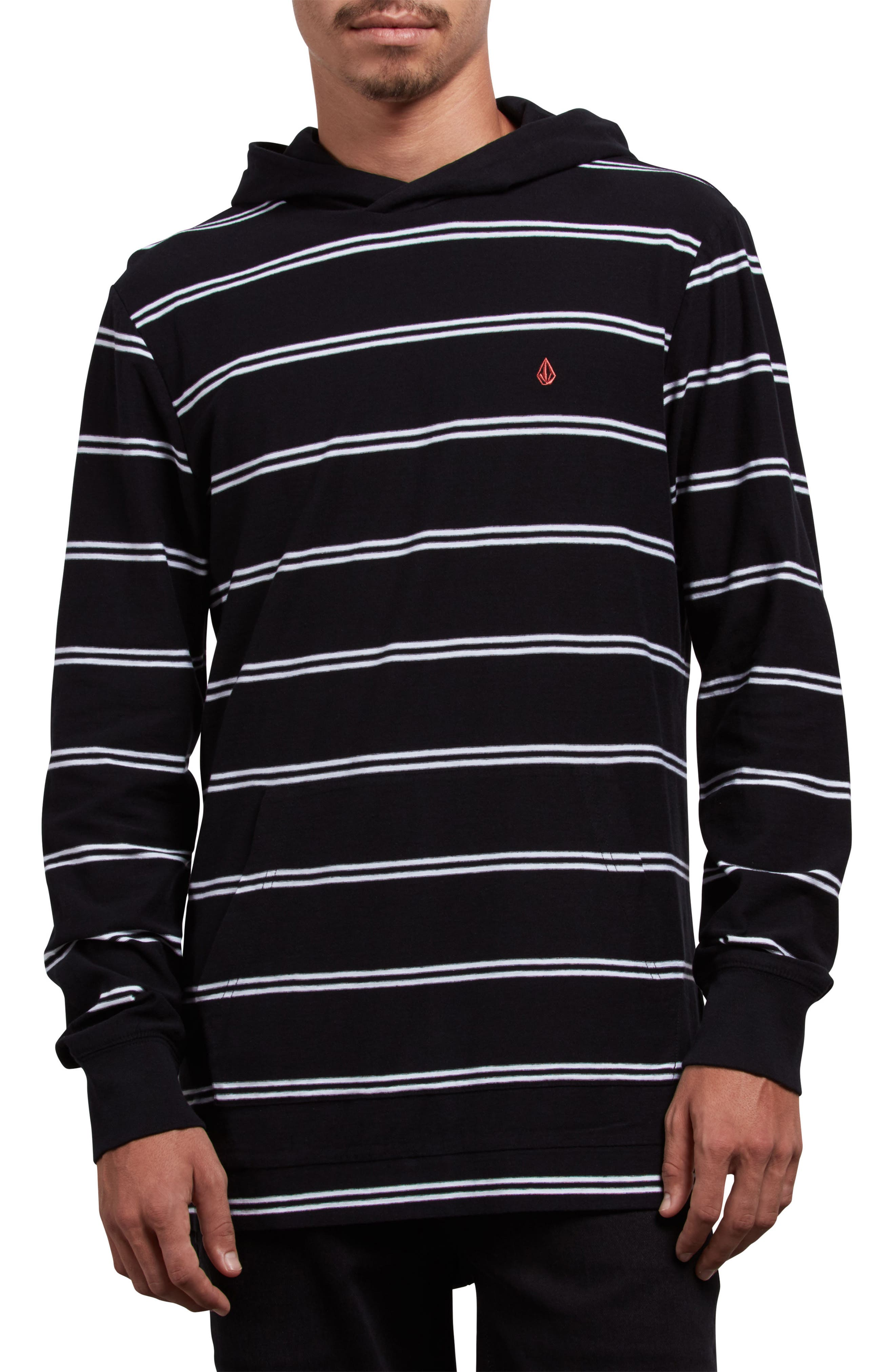Randall Striped Pullover Hoodie,                         Main,                         color, BLACK
