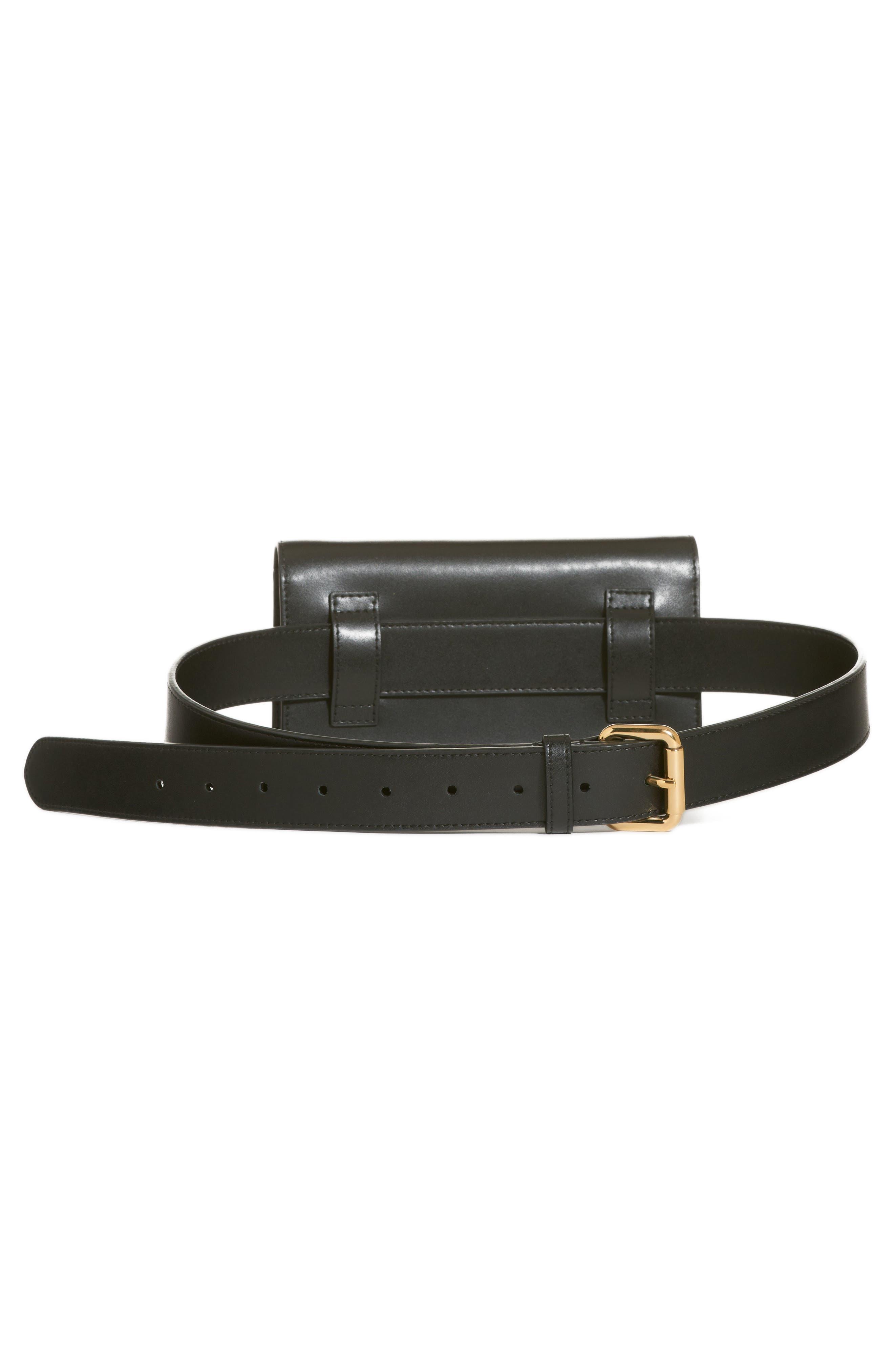 Liberty Logo Calfskin Leather Belt Bag,                             Alternate thumbnail 3, color,                             NERO/ ORO SOFT