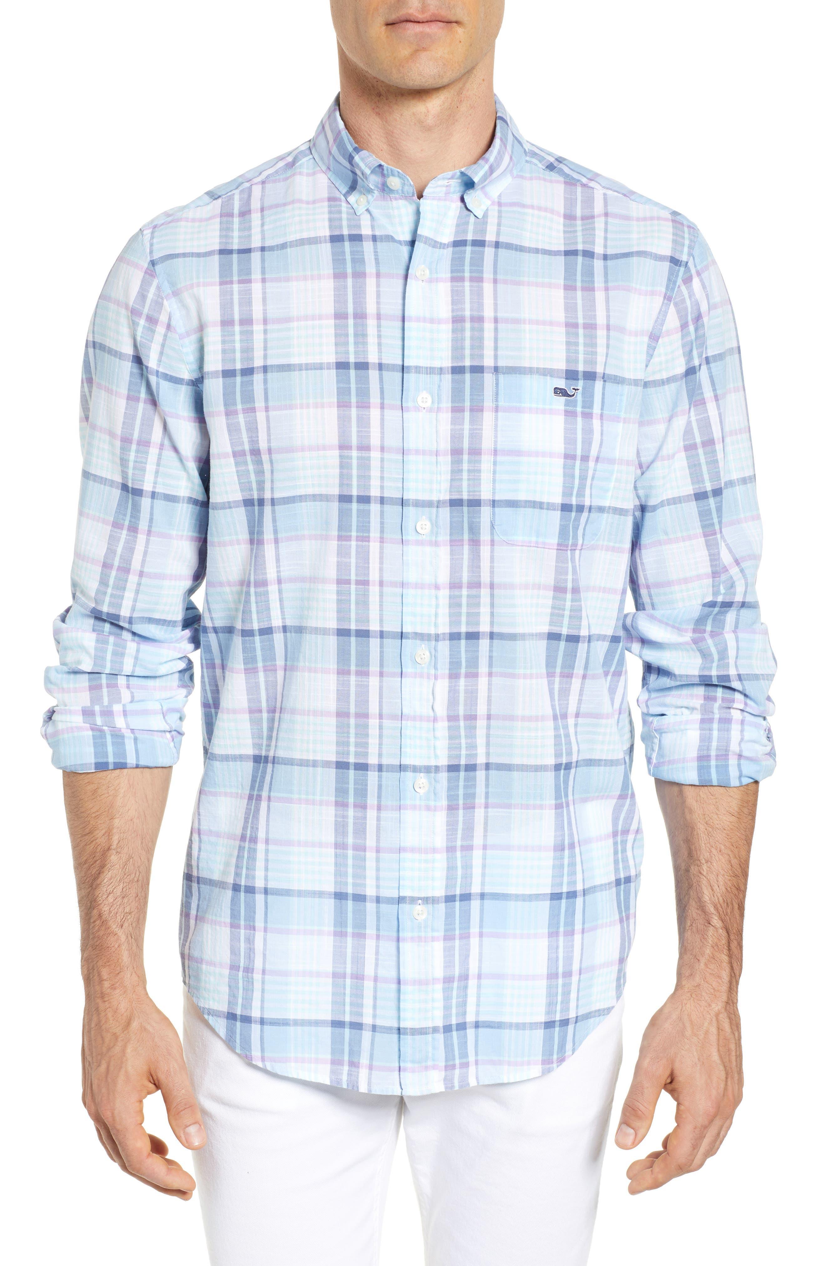 Pleasant Bay Classic Fit Plaid Sport Shirt,                         Main,                         color, 456