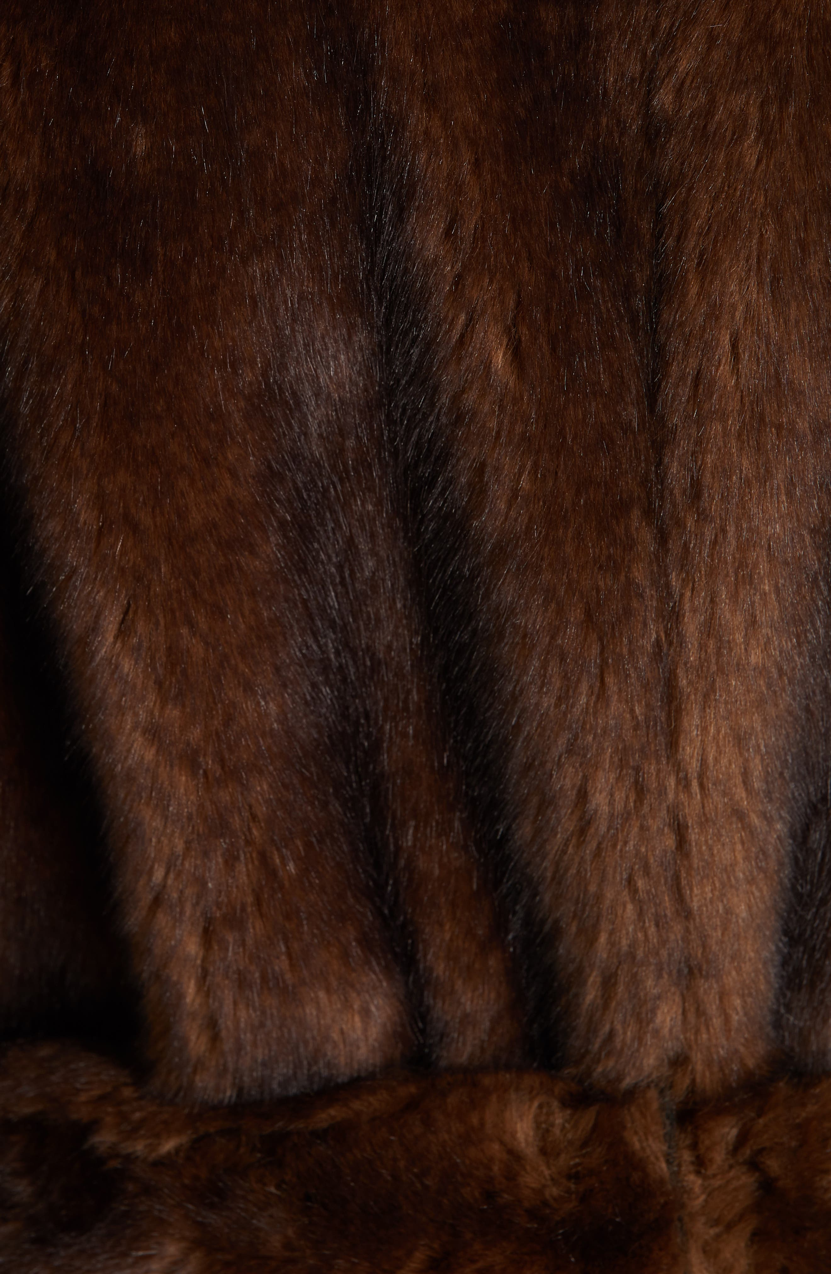 FRAME,                             Faux Mink Fur Robe Coat,                             Alternate thumbnail 7, color,                             201