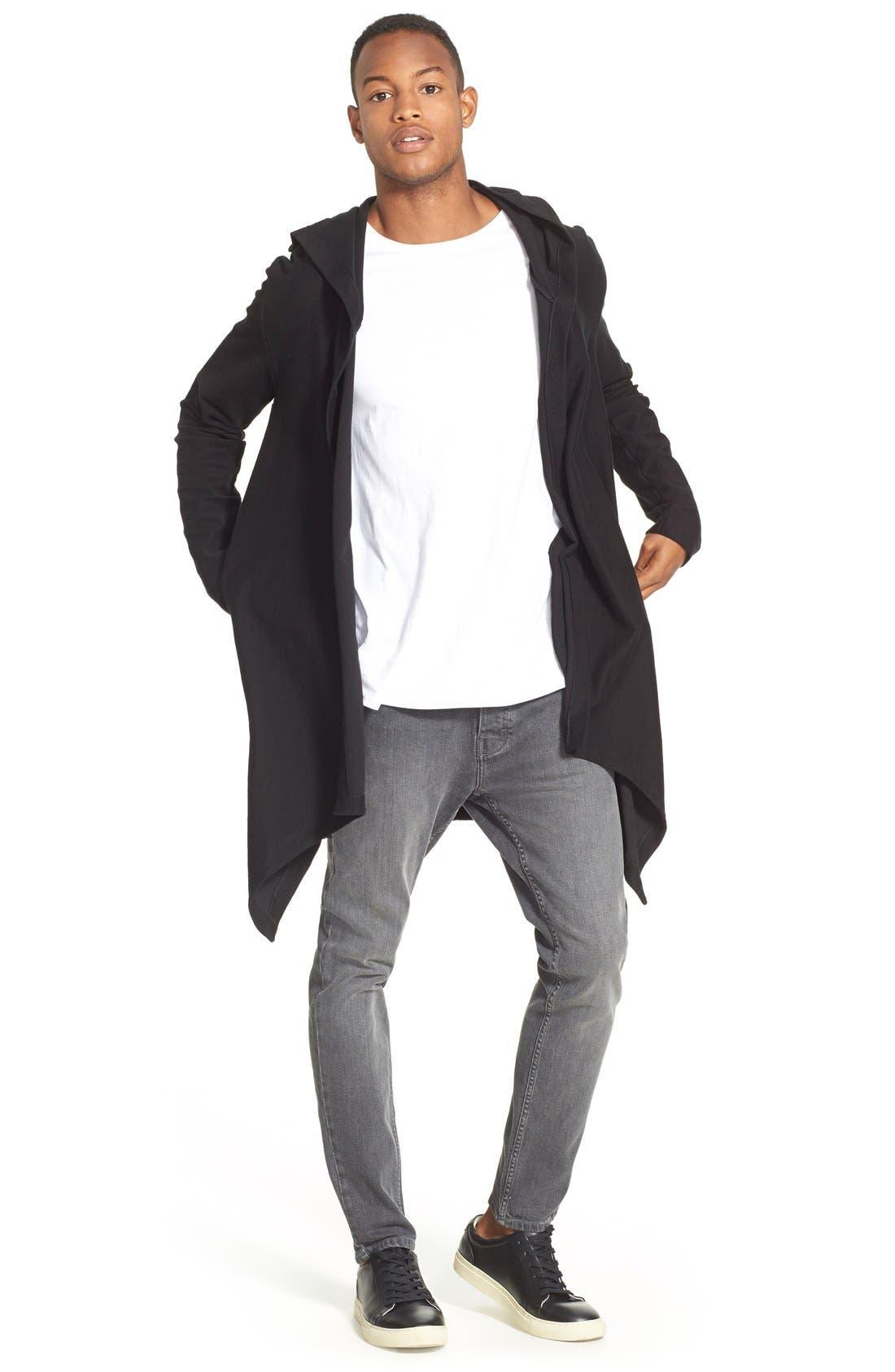 Slim Fit Longline T-Shirt with Side Zip Detail,                             Alternate thumbnail 2, color,                             100