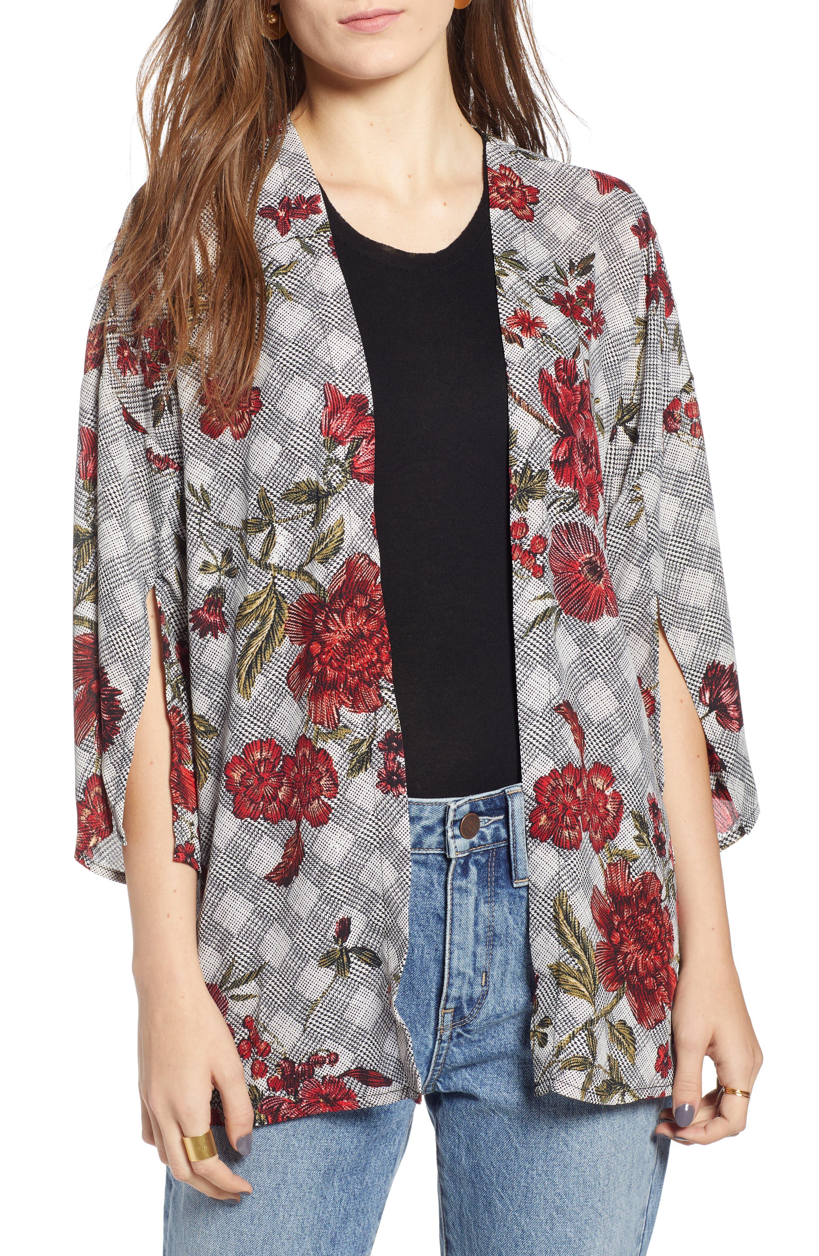 Floral & Glen Check Kimono,                             Main thumbnail 1, color,                             BLACK COMBO