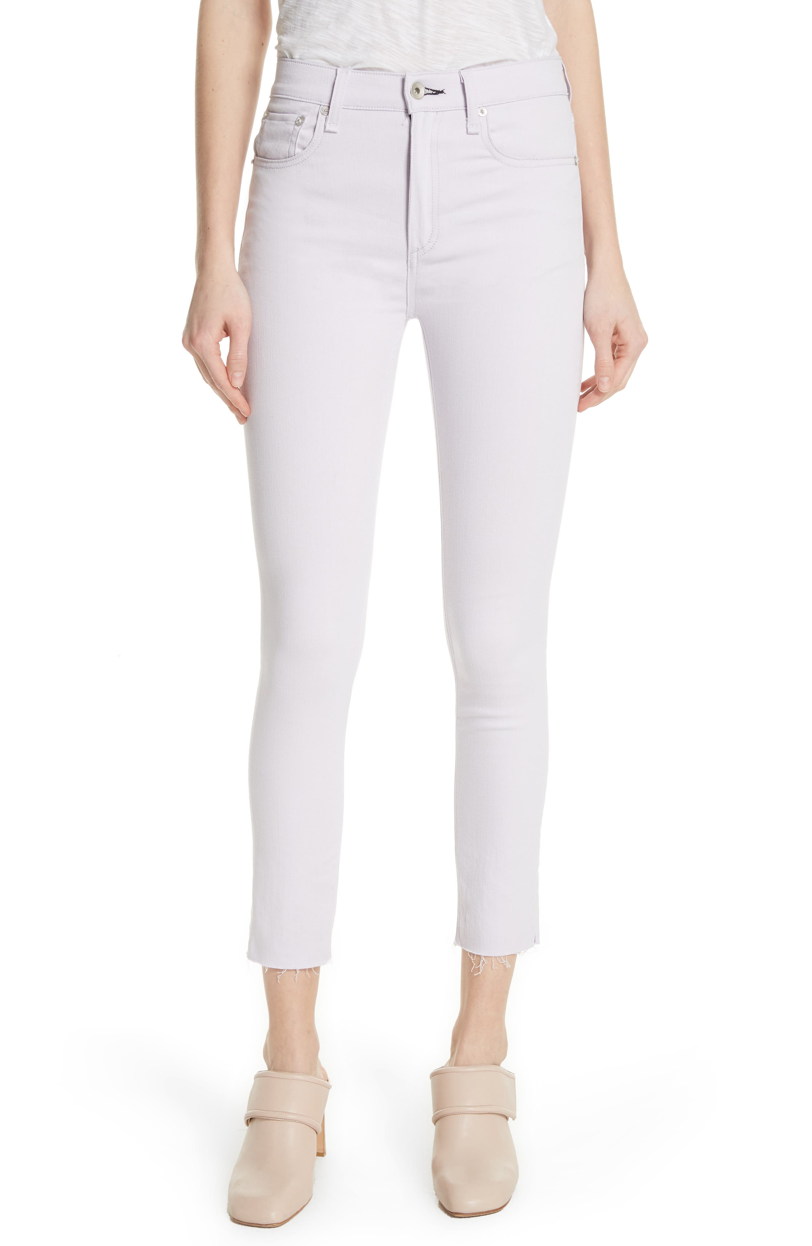 High Waist Ankle Skinny Jeans,                         Main,                         color, LILAC
