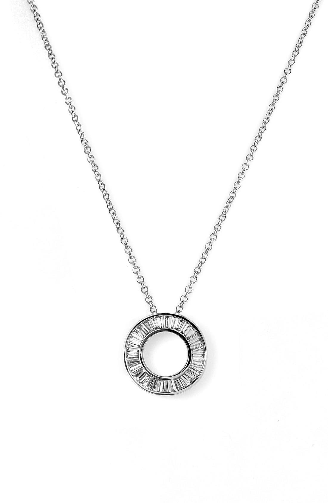 Circle of Life Small Diamond Pendant Necklace,                             Main thumbnail 1, color,                             WHITE GOLD