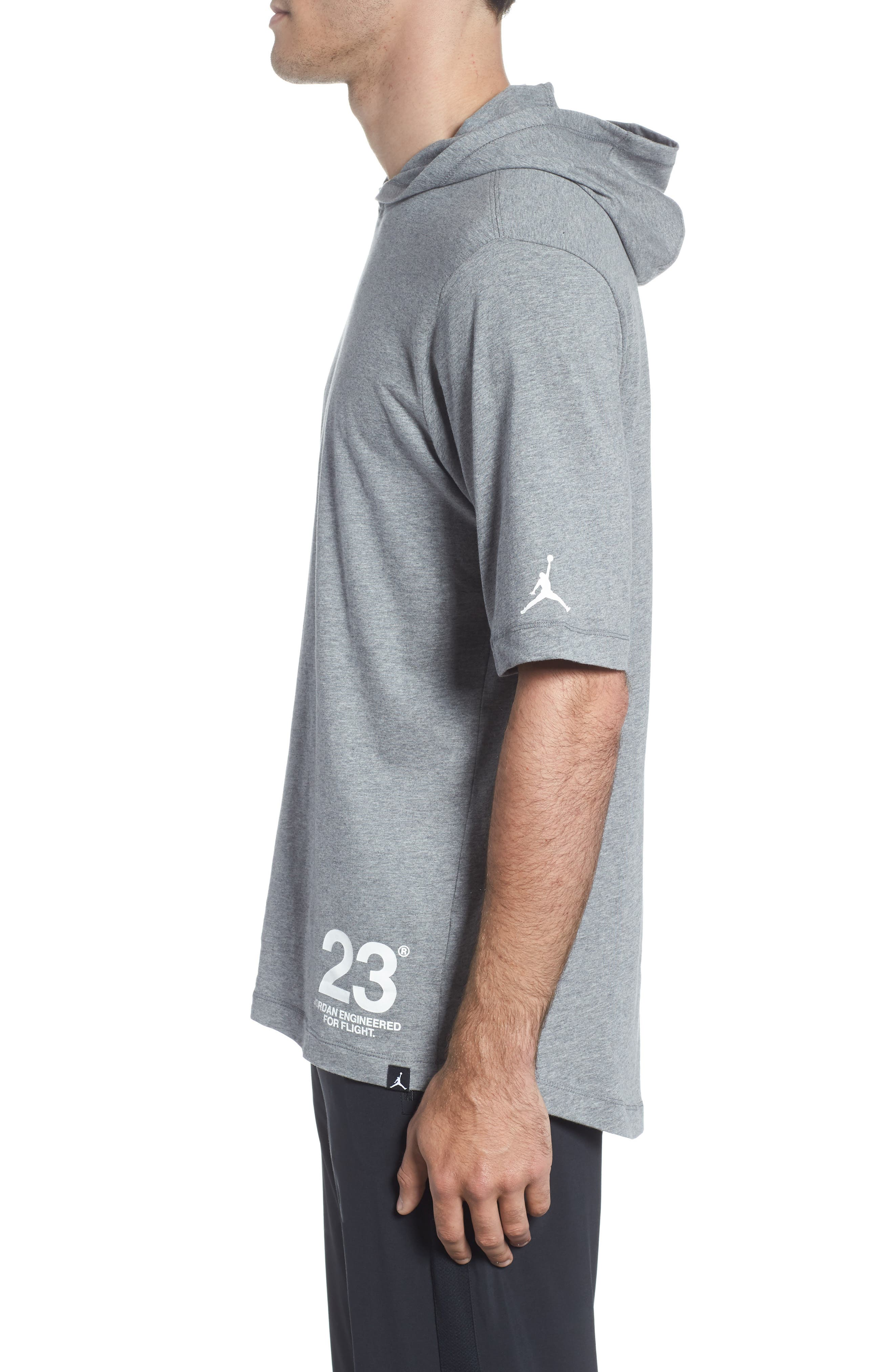 Sportswear 23 Hooded T-Shirt,                             Alternate thumbnail 3, color,                             CARBON HEATHER/ WHITE