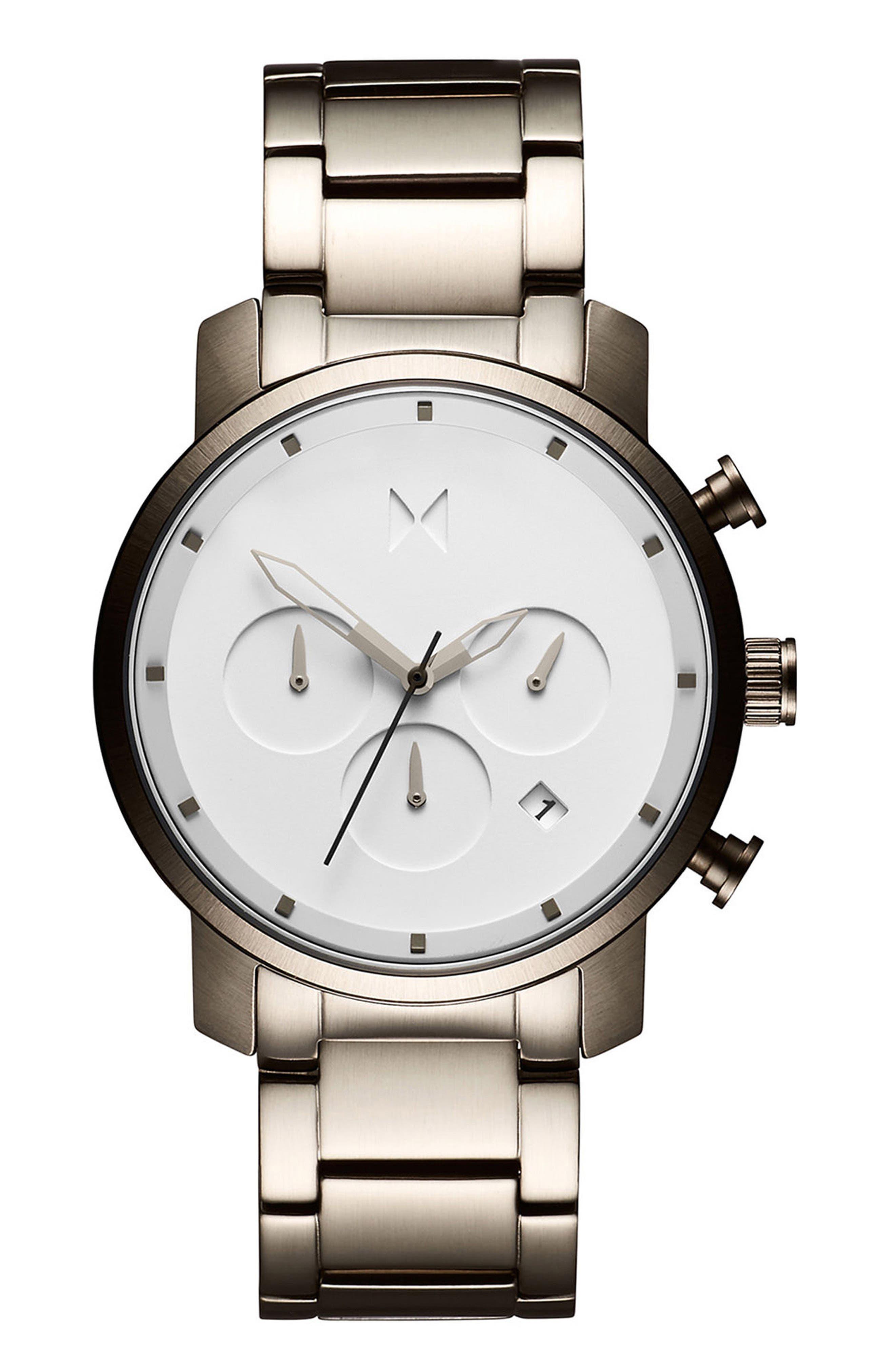 Chrono Chronograph Bracelet Watch, 40mm,                             Main thumbnail 1, color,                             WHITE/ GUNMETAL