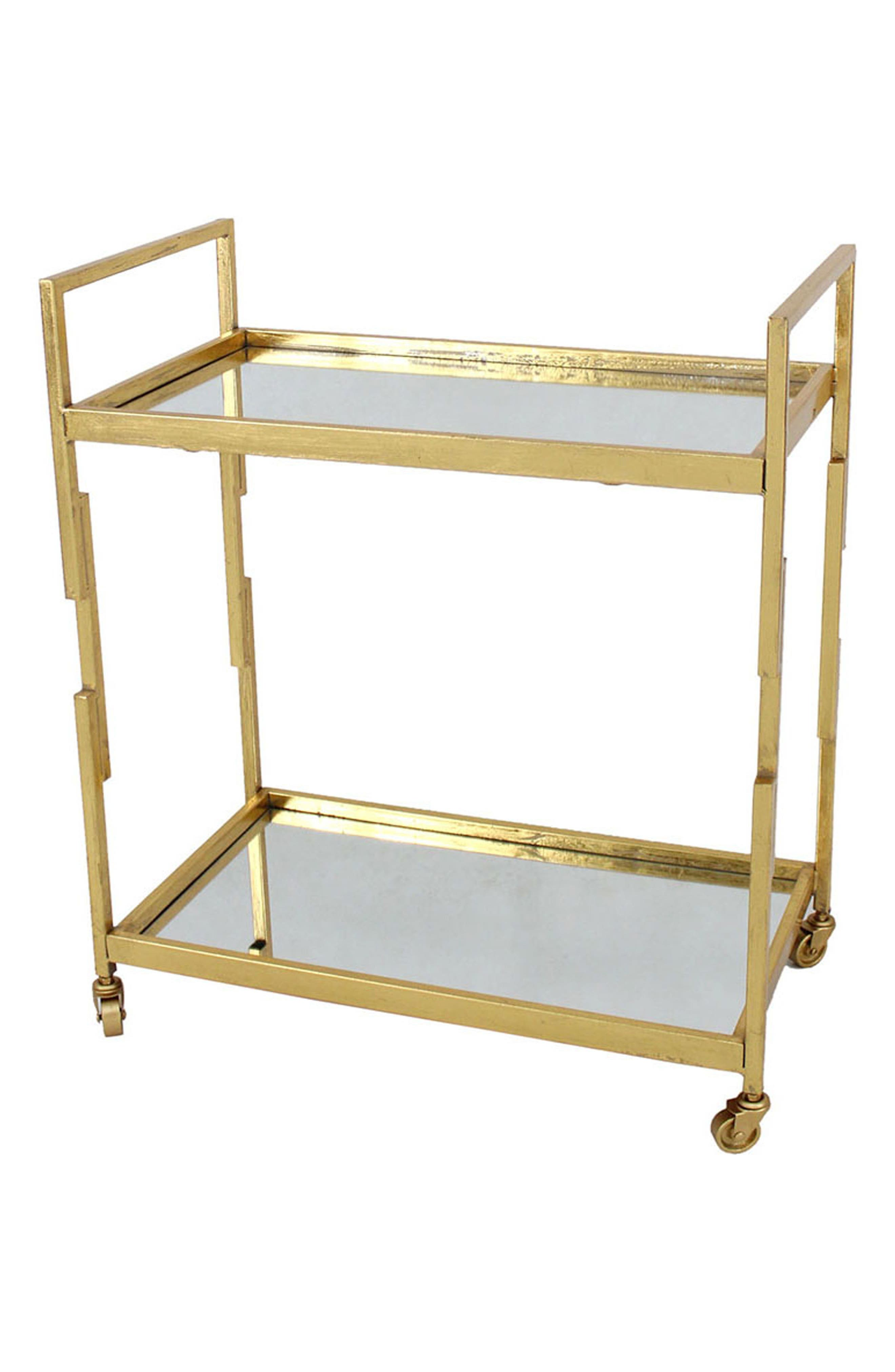 Goldtone Metal & Glass Serving Cart,                             Main thumbnail 1, color,                             GOLD
