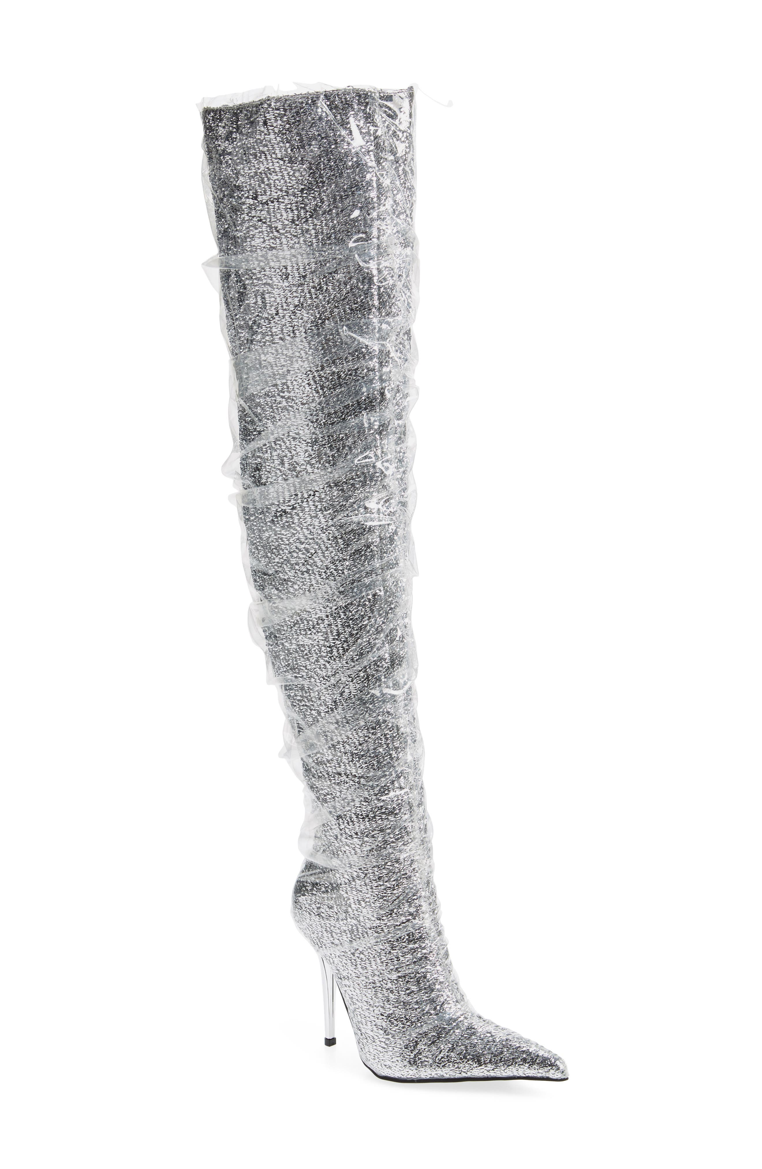 JEFFREY CAMPBELL Gamora Thigh High Boot in Silver/ Clear Fabric