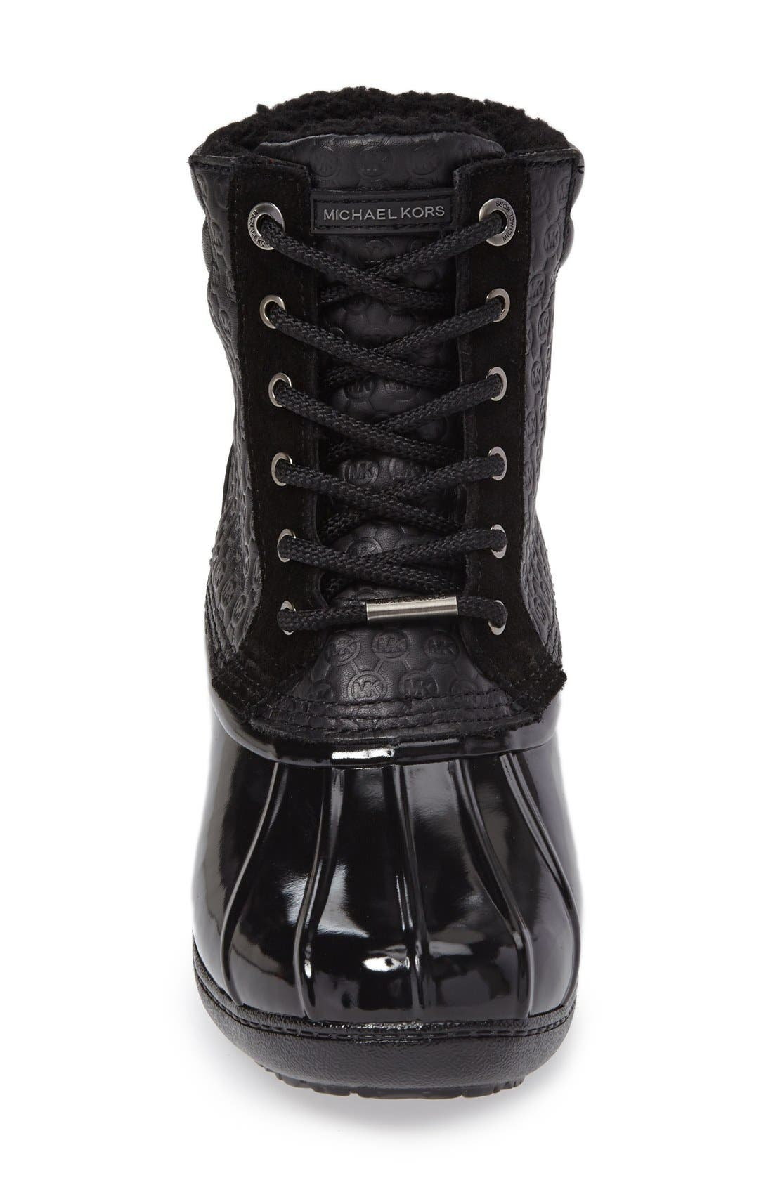 Easton Lace-Up Faux Shearling Lined Duck Boot,                             Alternate thumbnail 3, color,                             001
