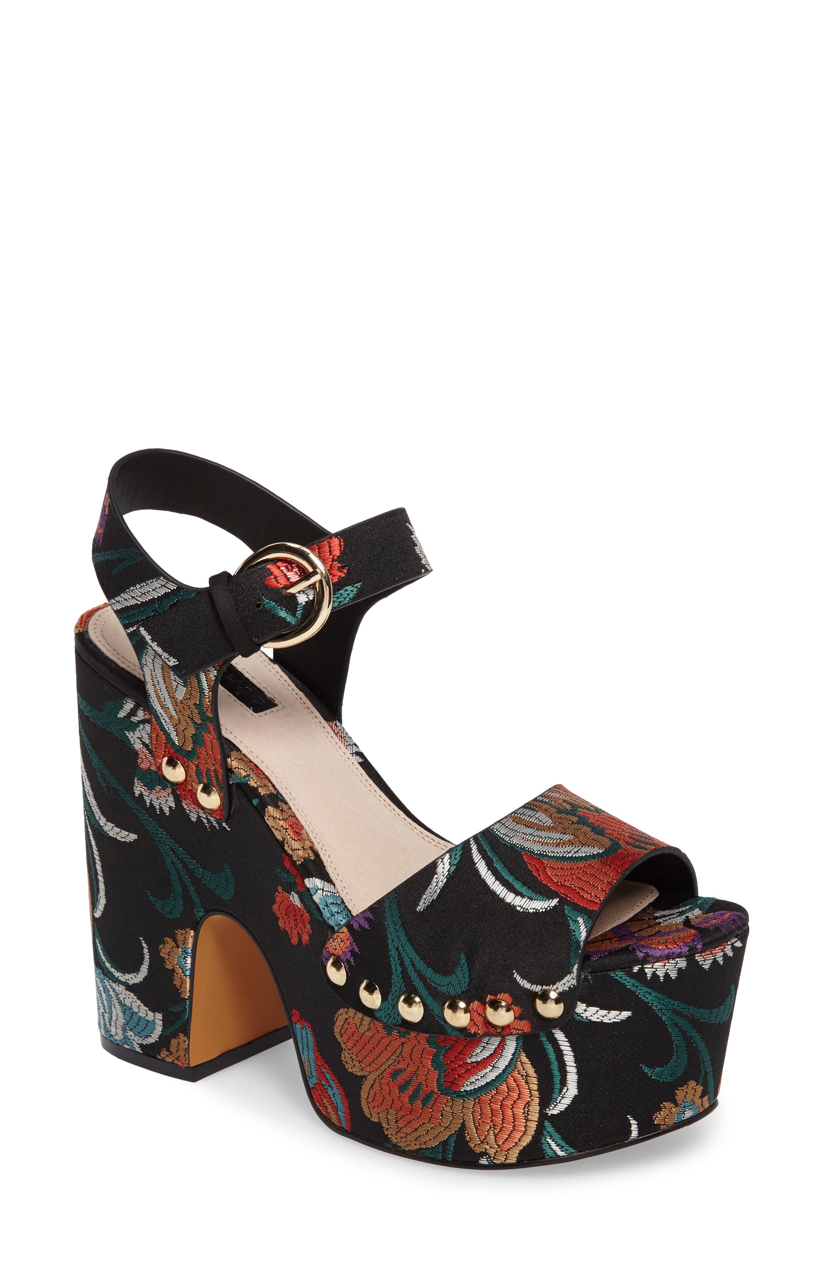 Lourdes Embroidered Platform Sandal,                             Main thumbnail 1, color,                             001