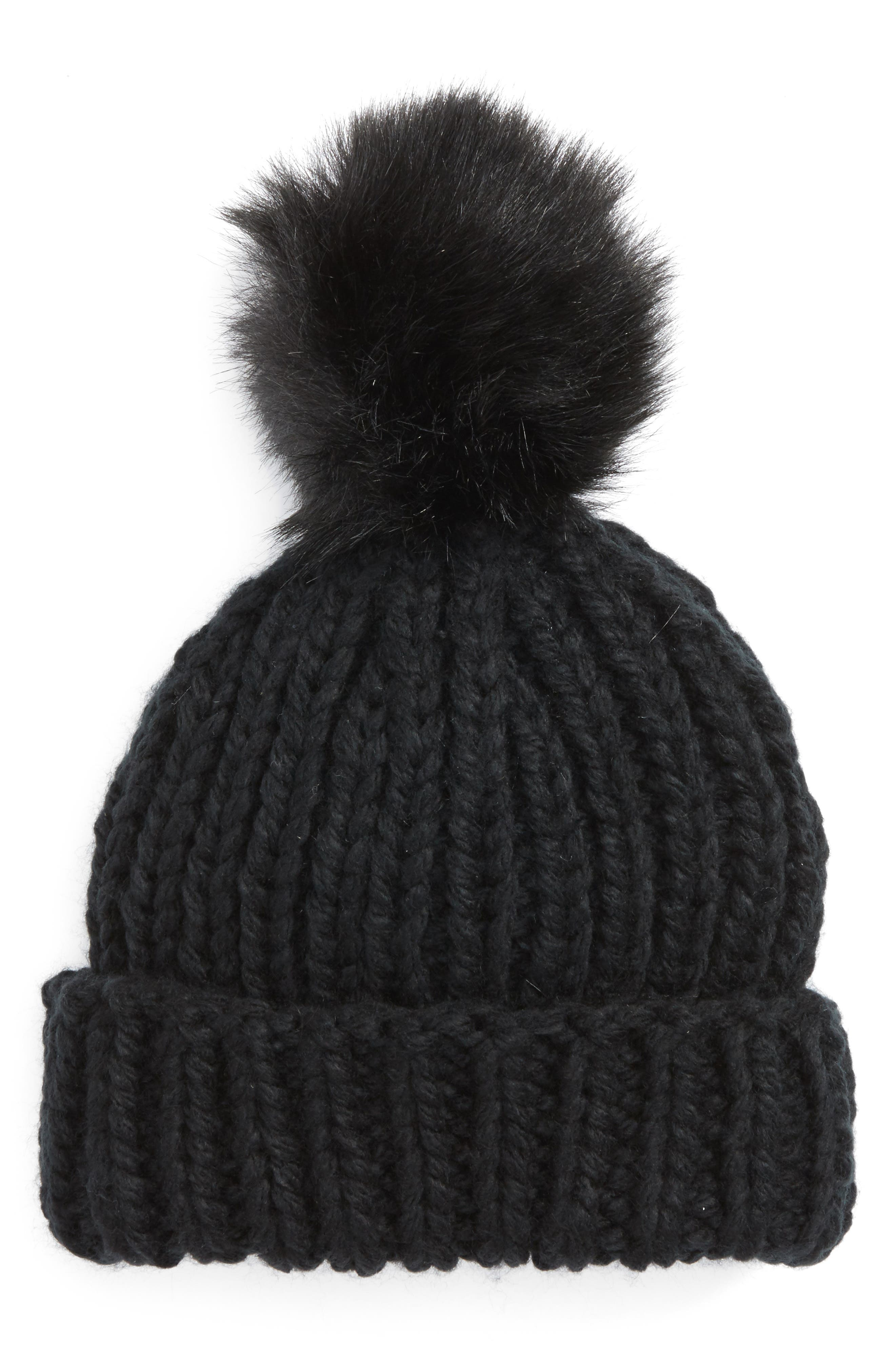 Happy Trails Faux Fur Pom Beanie,                             Main thumbnail 1, color,                             001
