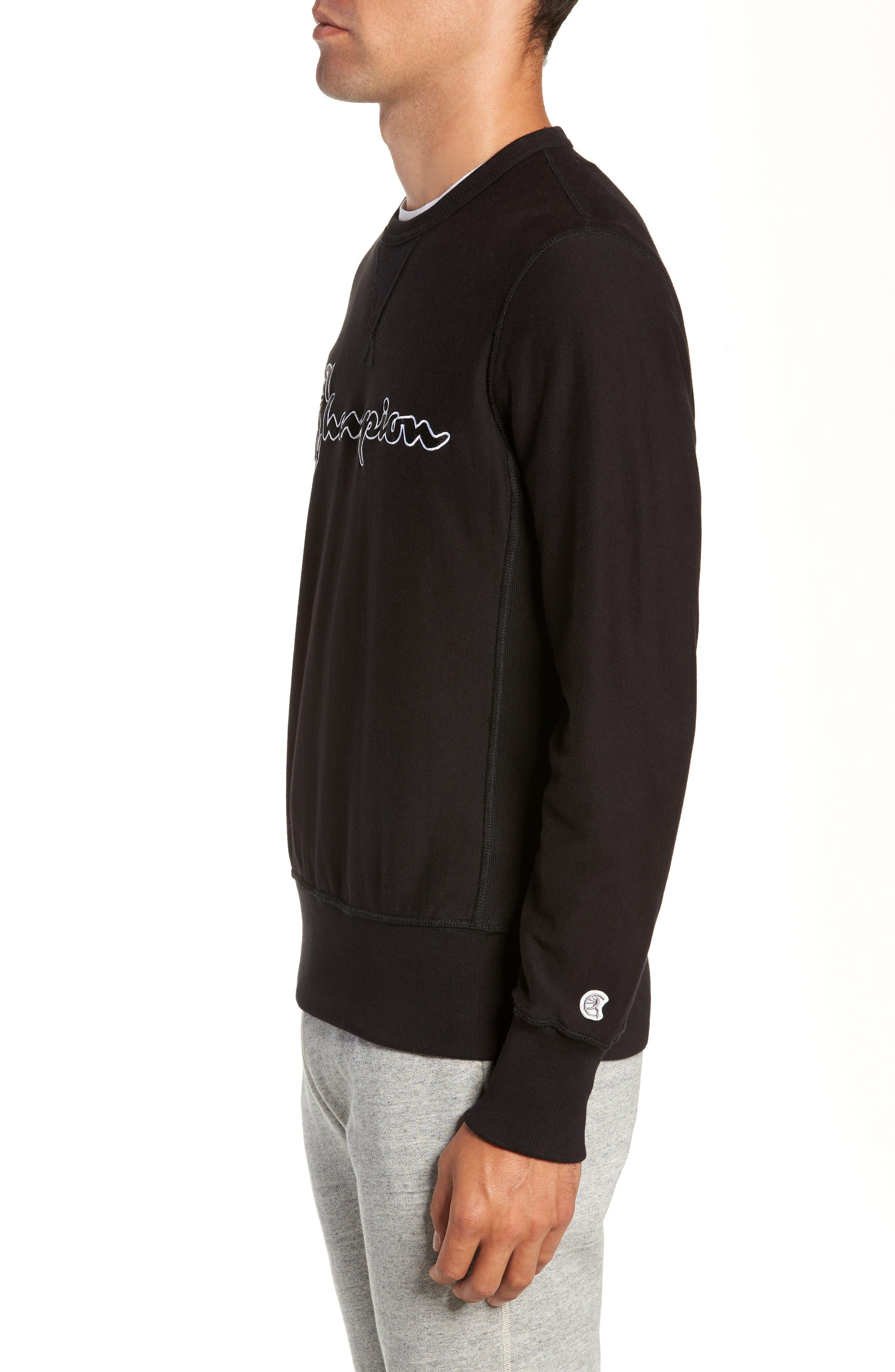 + Champion Script Sweatshirt,                             Alternate thumbnail 3, color,                             BLACK
