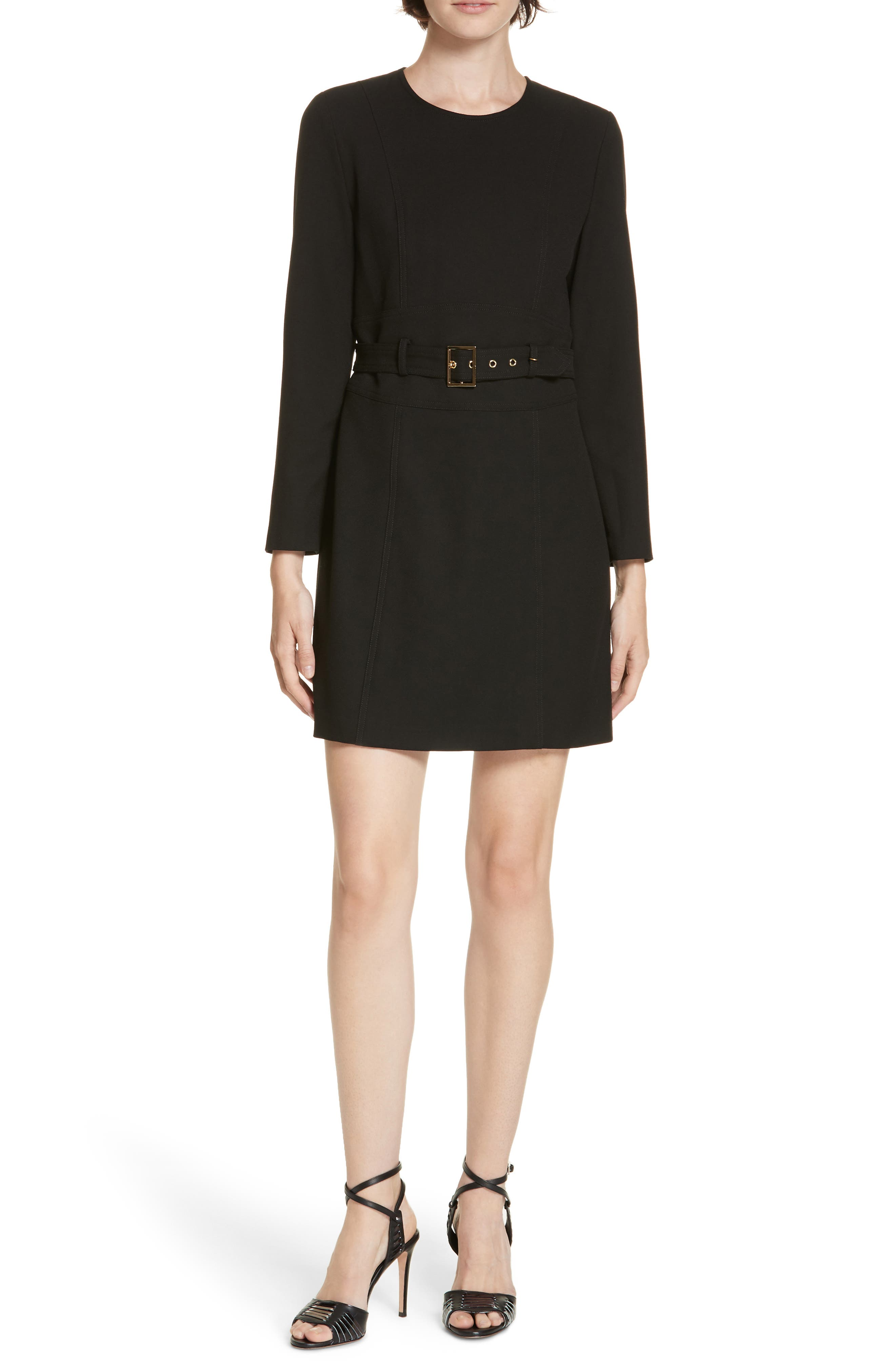 Nora Belted Minidress, Main, color, BLACK