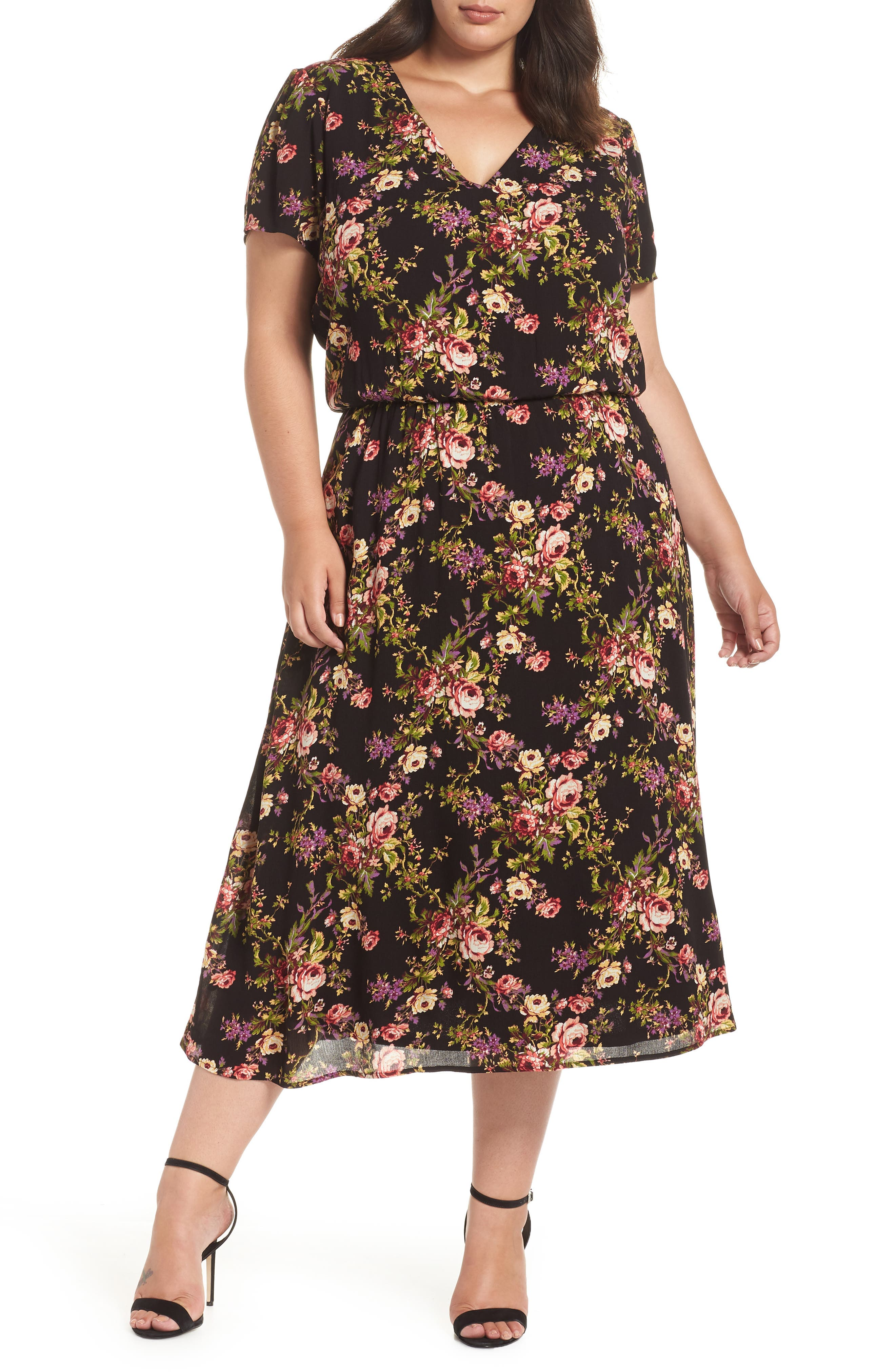 Blouson Midi Dress,                         Main,                         color, BLACK TAPESTRY FLORAL