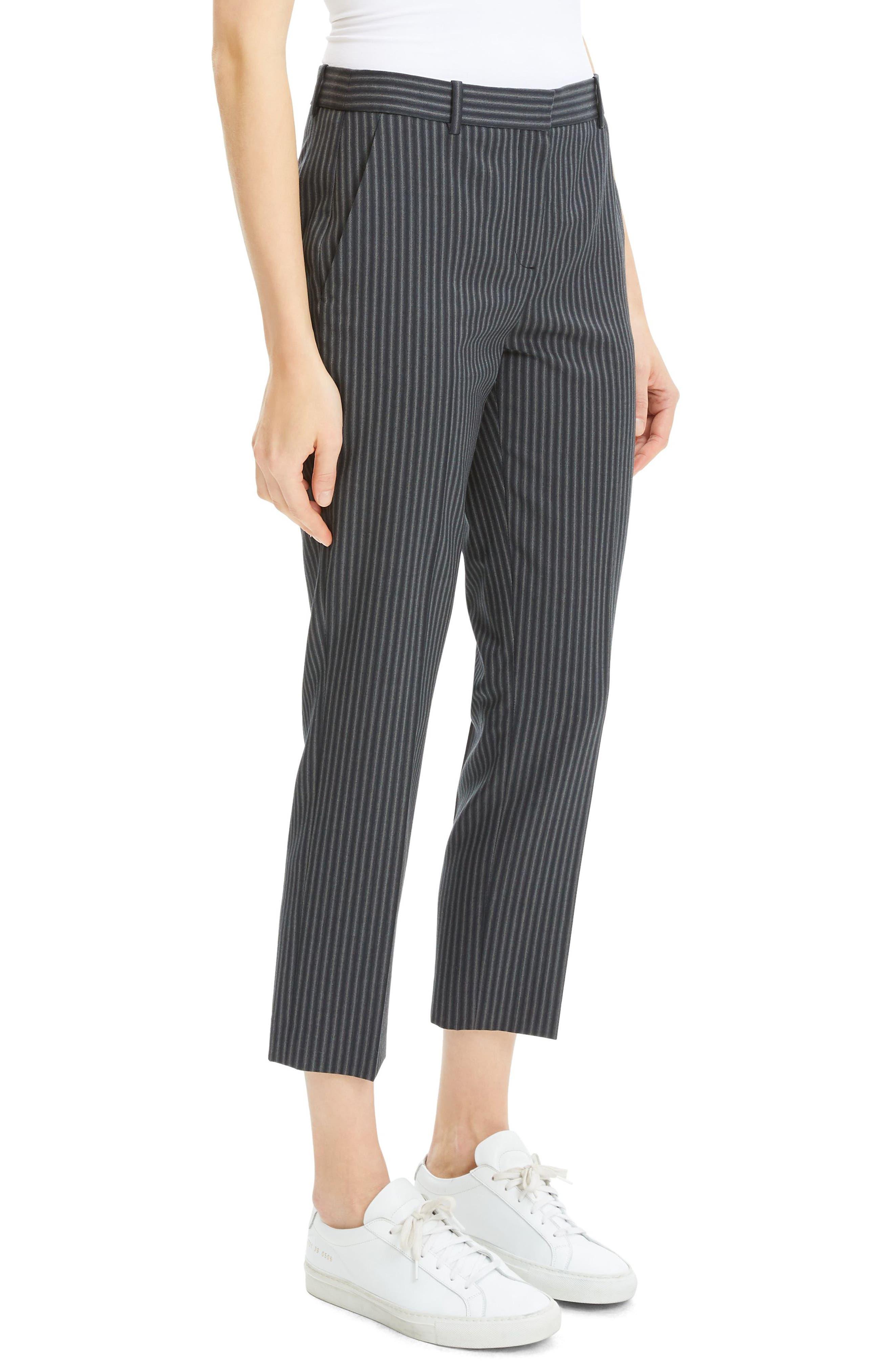 Crop Wool Pants,                             Alternate thumbnail 3, color,                             BLACK