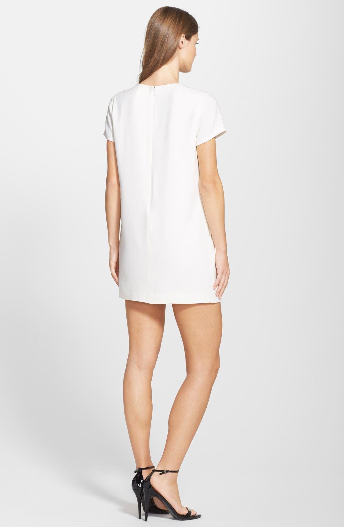 by Cynthia Steffe 'Moss' Embroidered Heart Crepe Shift Dress,                             Alternate thumbnail 4, color,                             900
