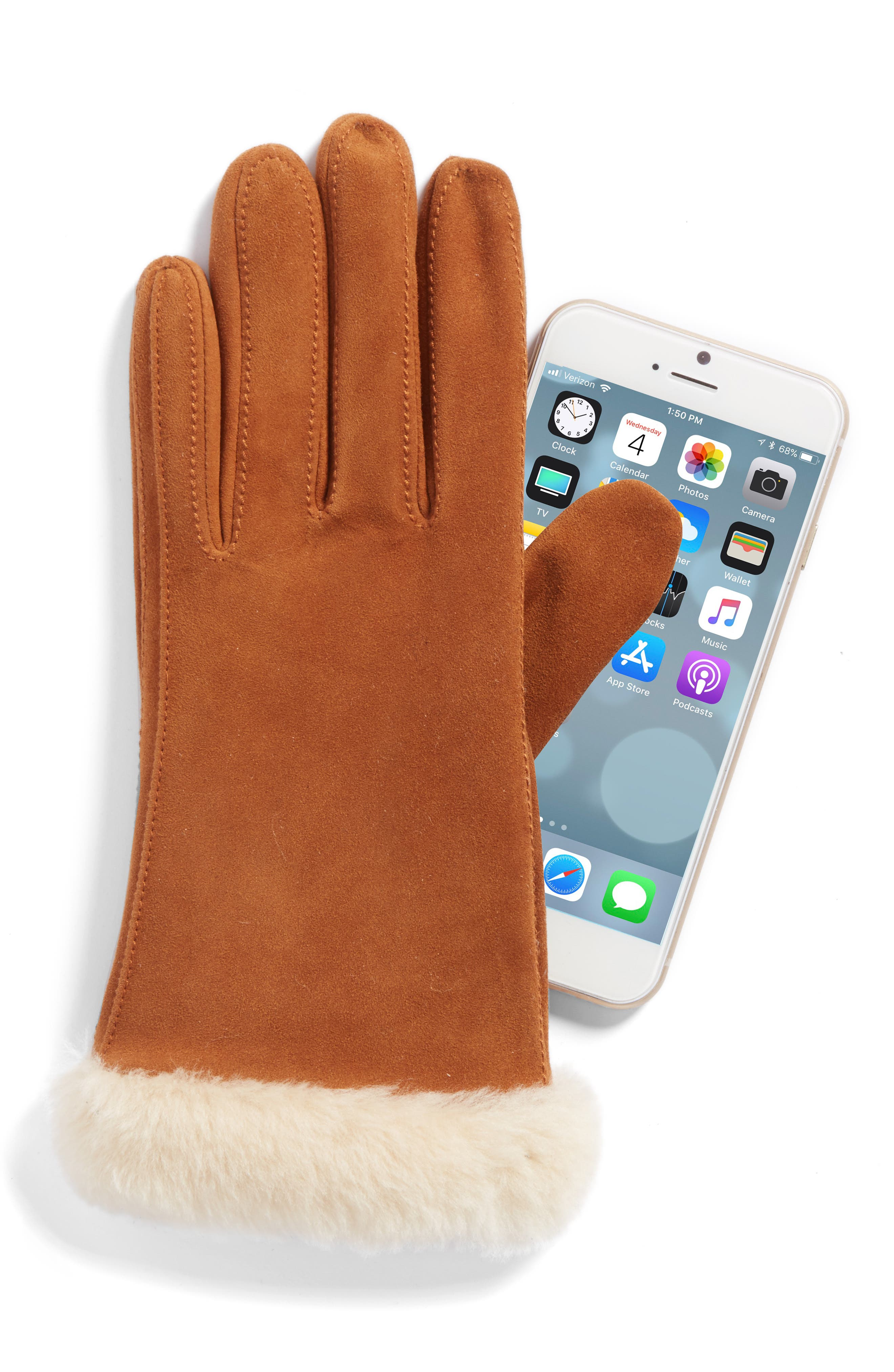 Classic Suede Tech Gloves with Genuine Shearling Trim,                             Alternate thumbnail 4, color,