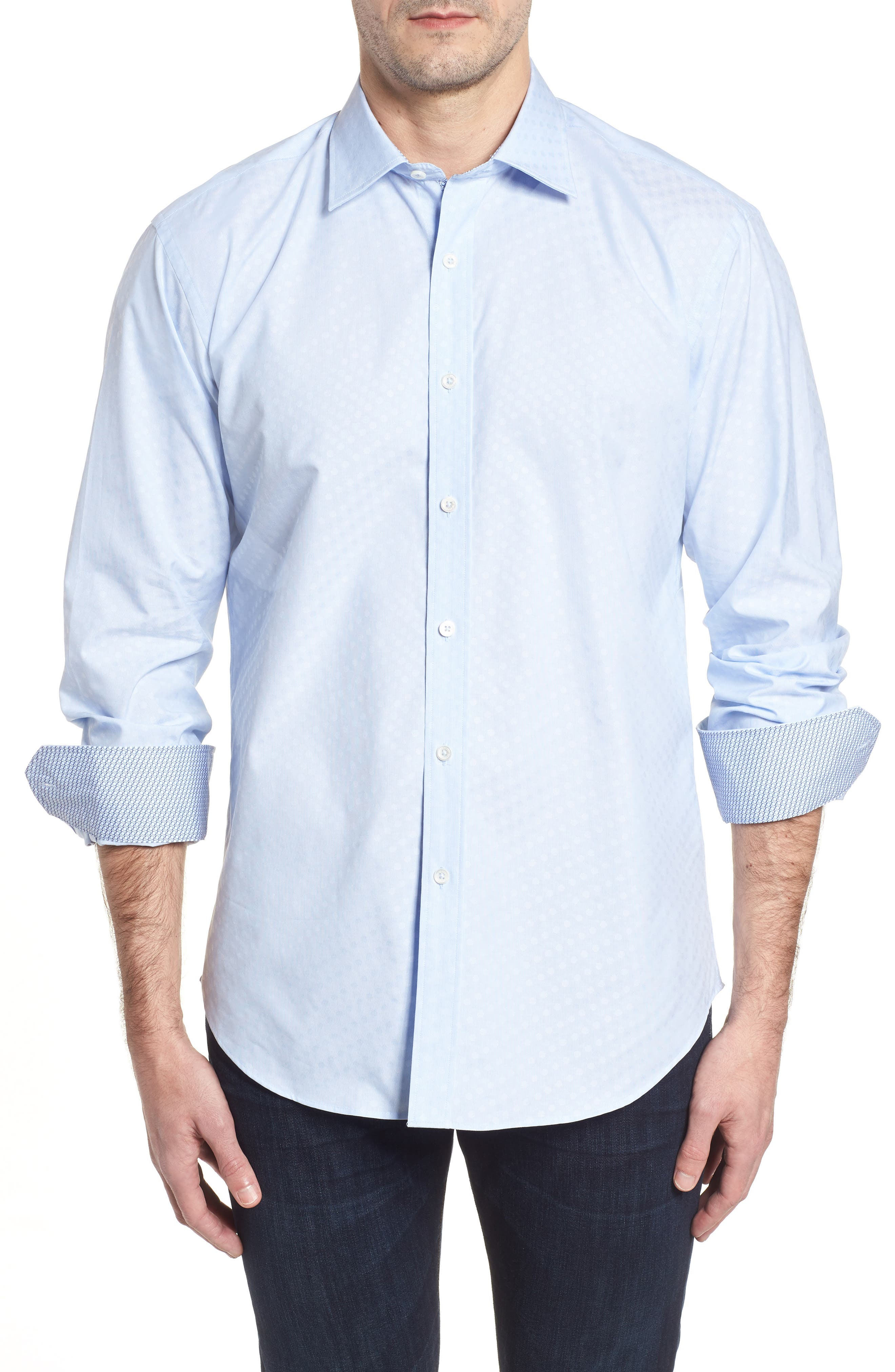 Shaped Fit Tonal Dots Sport Shirt,                             Main thumbnail 1, color,                             459