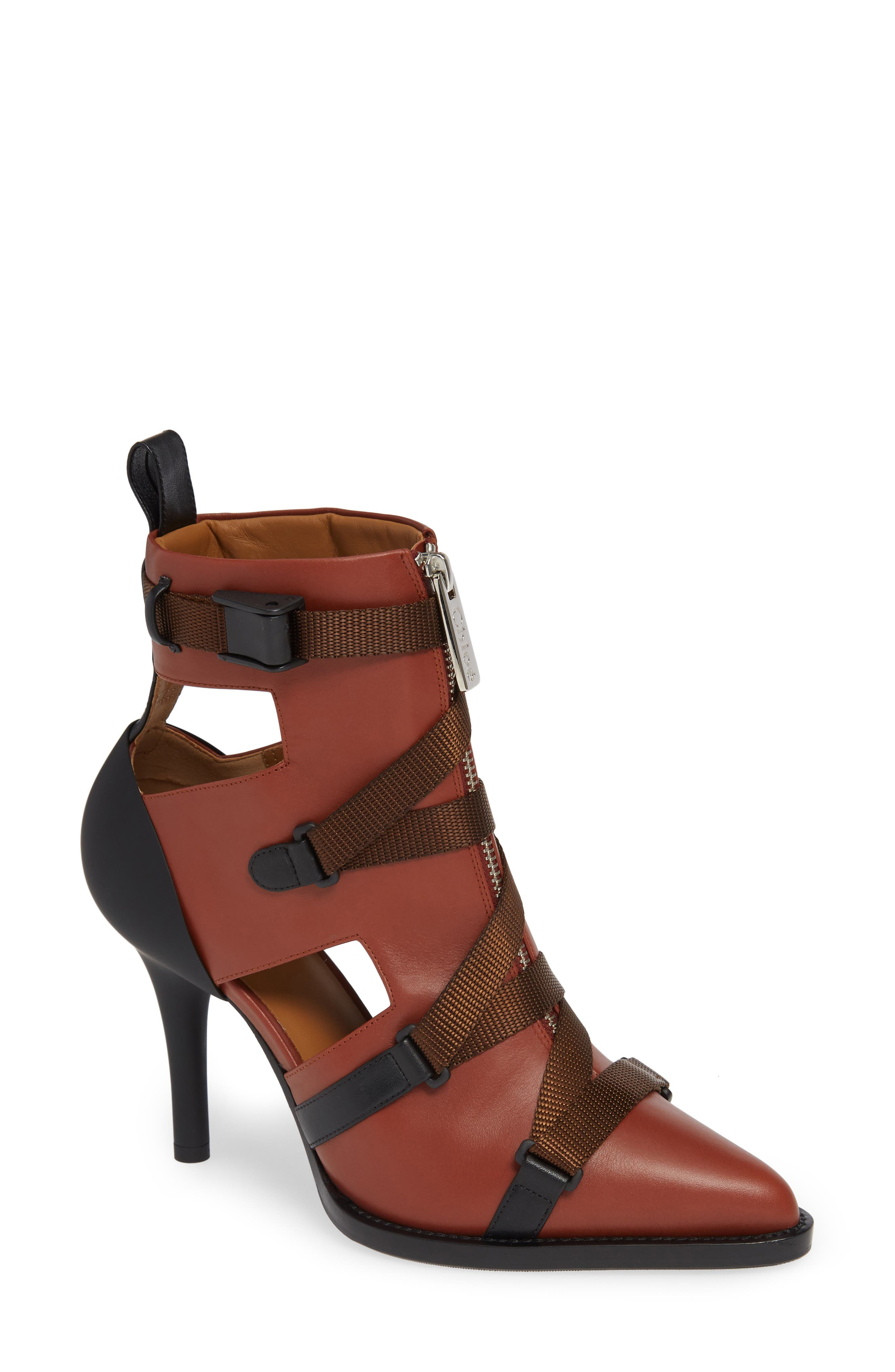 Tracy Strap Cutout Bootie,                             Main thumbnail 1, color,                             SEPIA BROWN