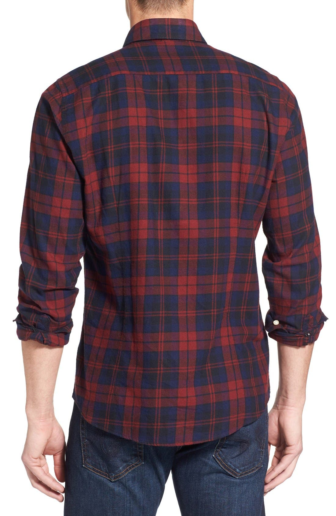 Seth Tailored Fit Plaid Sport Shirt,                             Alternate thumbnail 6, color,