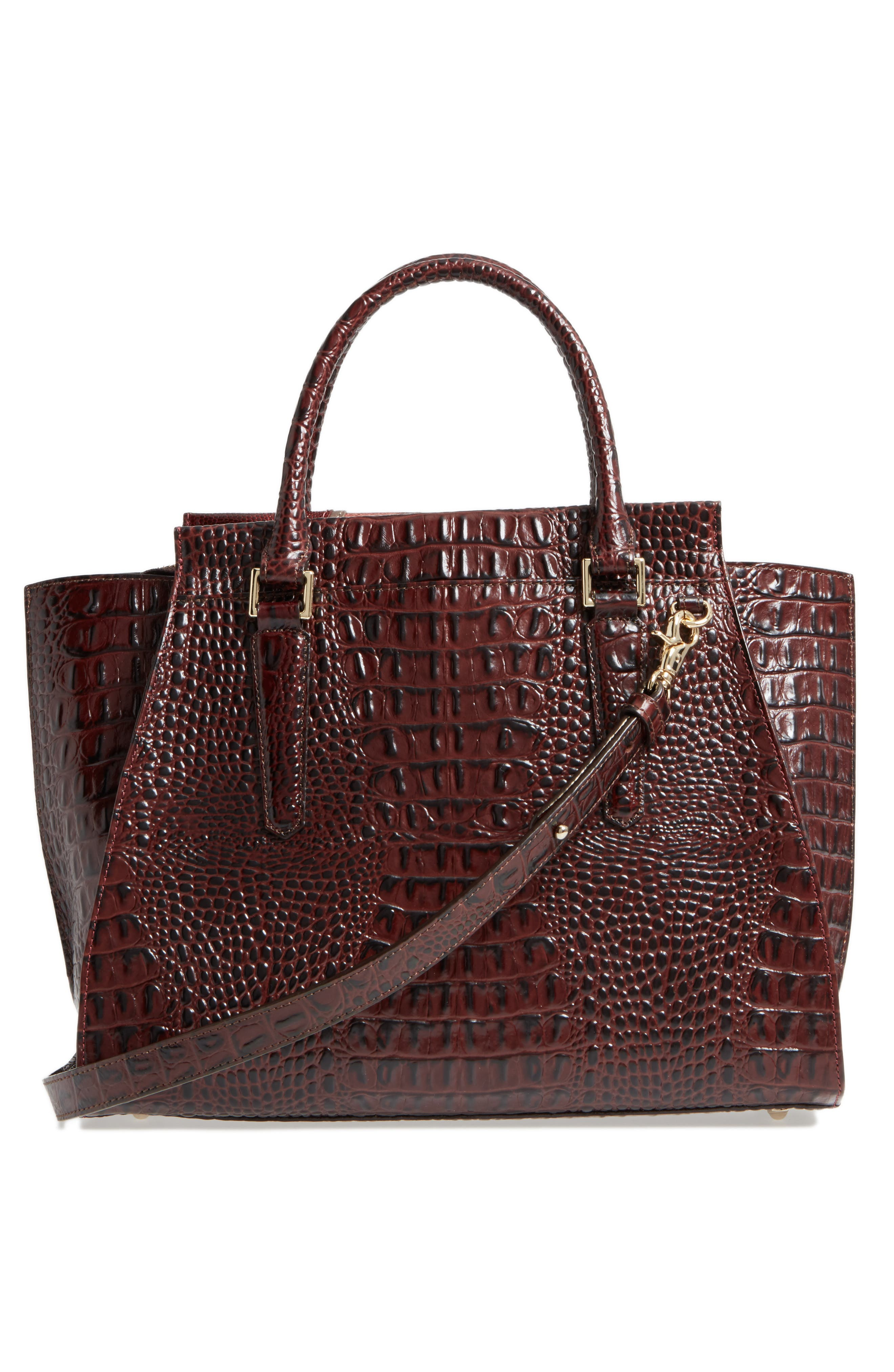 Red Verona - Priscilla Leather Satchel,                             Alternate thumbnail 3, color,                             610