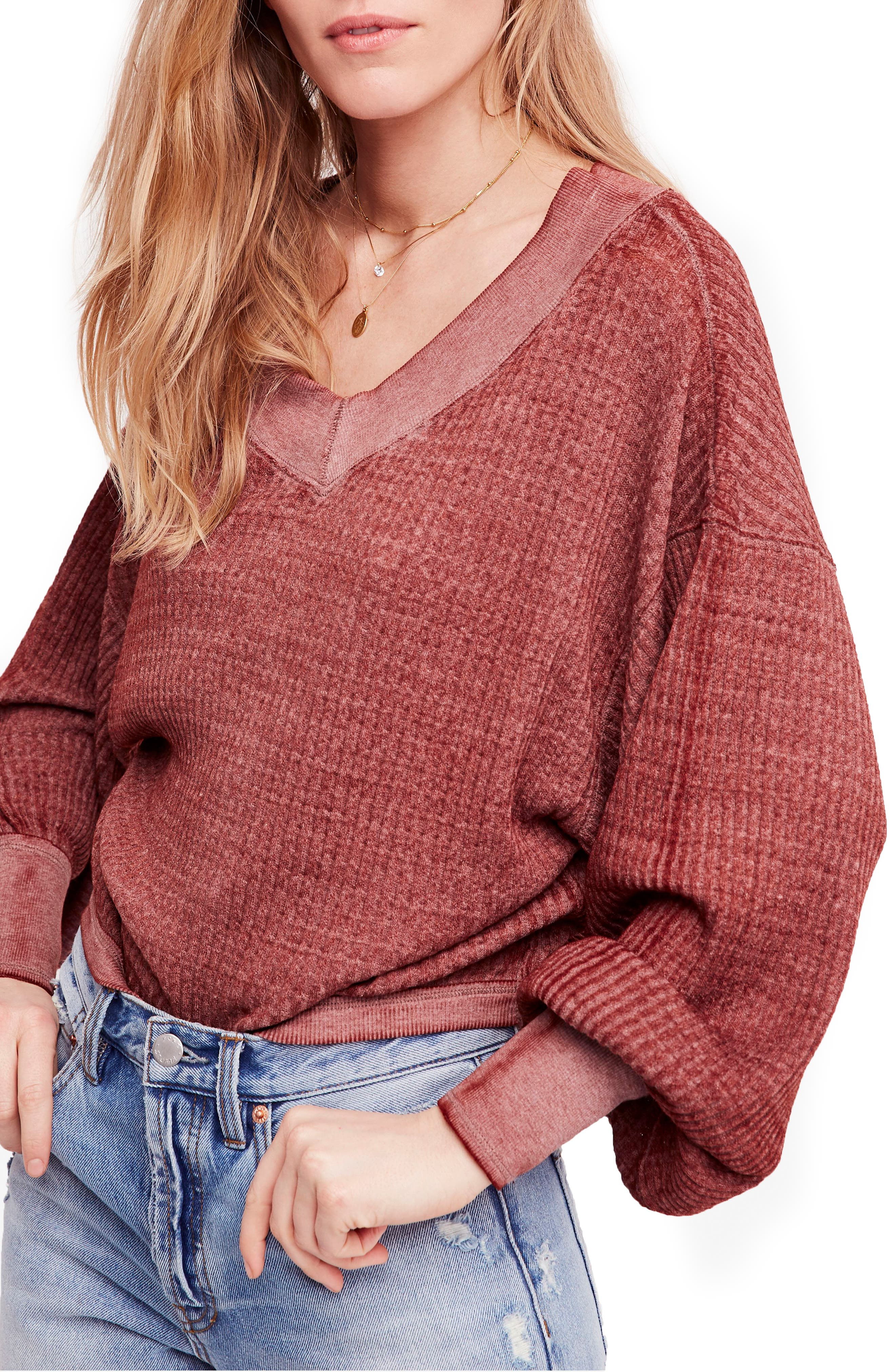 We the Free by Free People South Side Thermal Top,                             Main thumbnail 1, color,                             CINNAMON