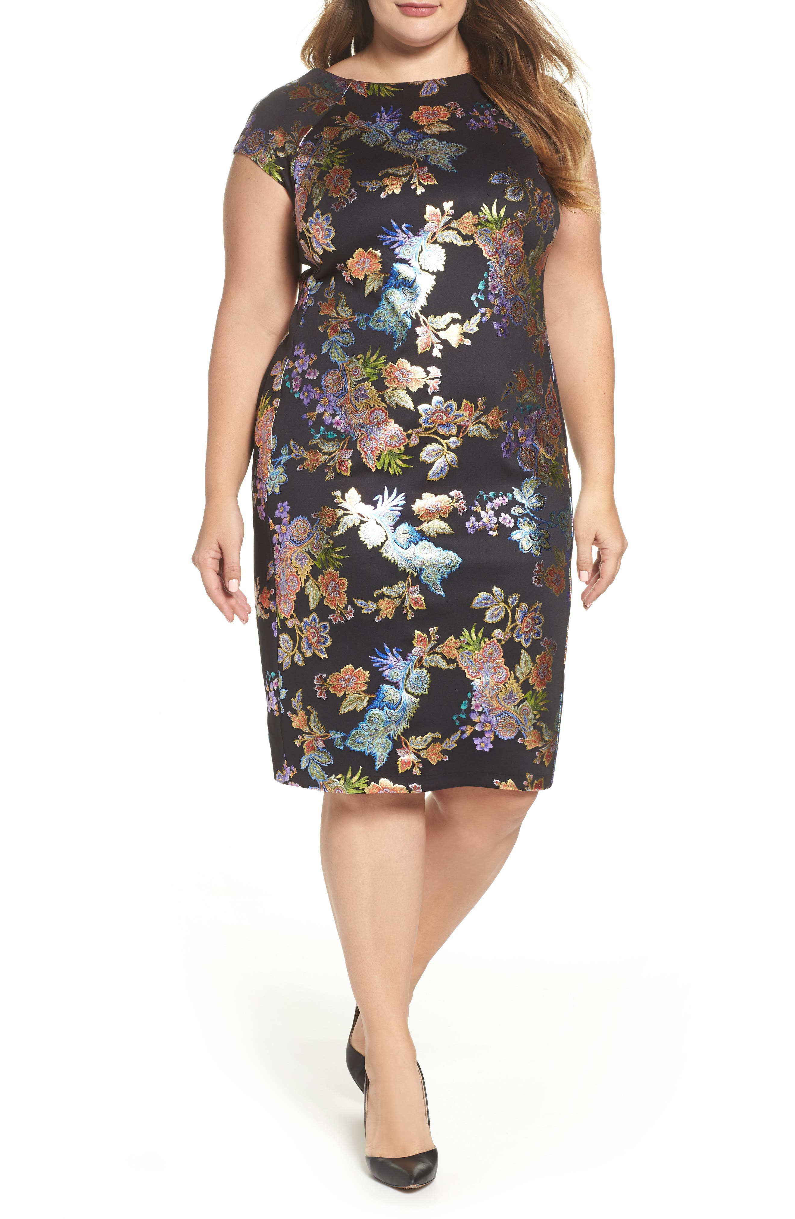 Foil Print Sheath Dress,                         Main,                         color,