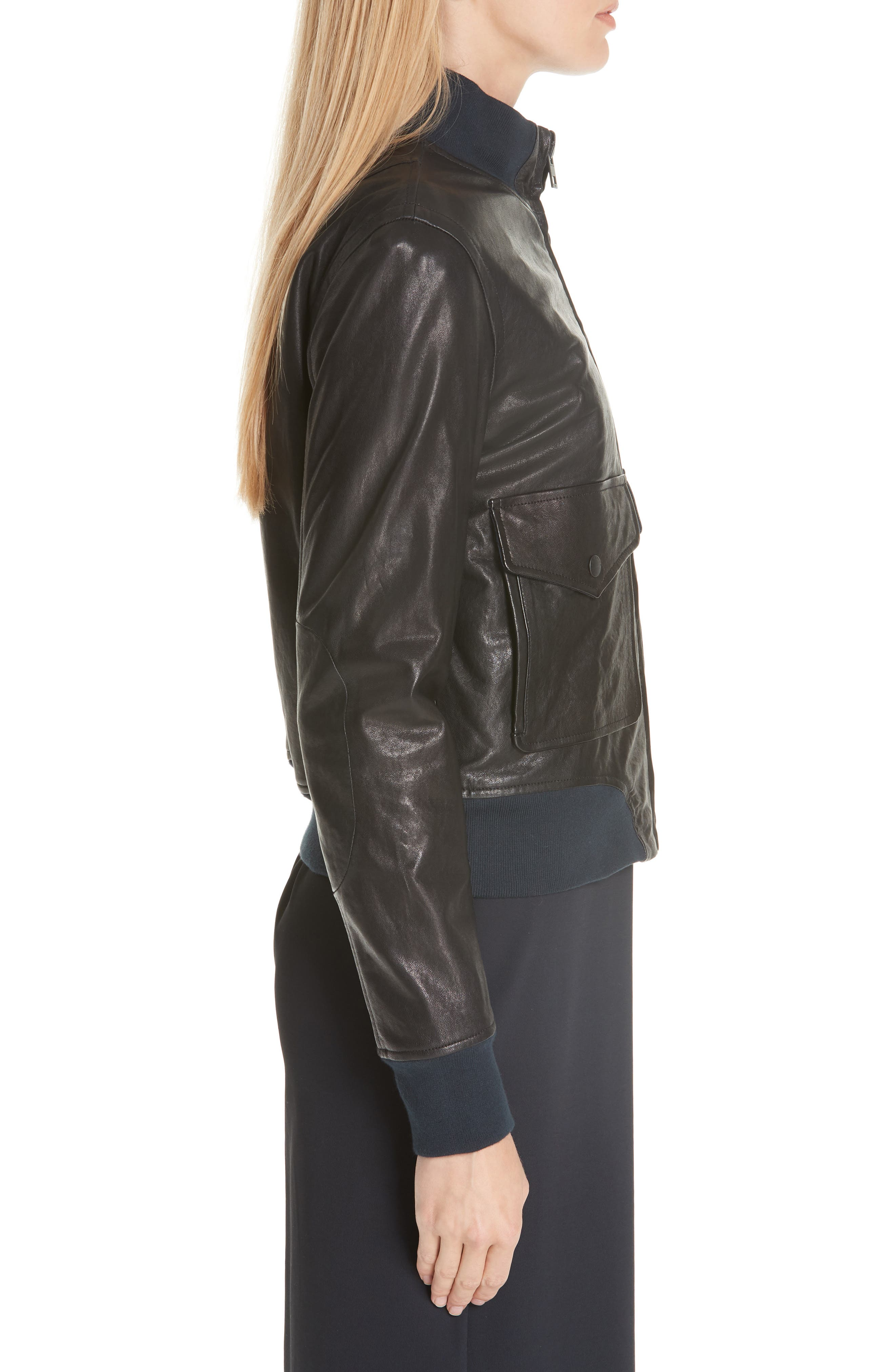 Mila Lambskin Leather Jacket,                             Alternate thumbnail 3, color,                             001
