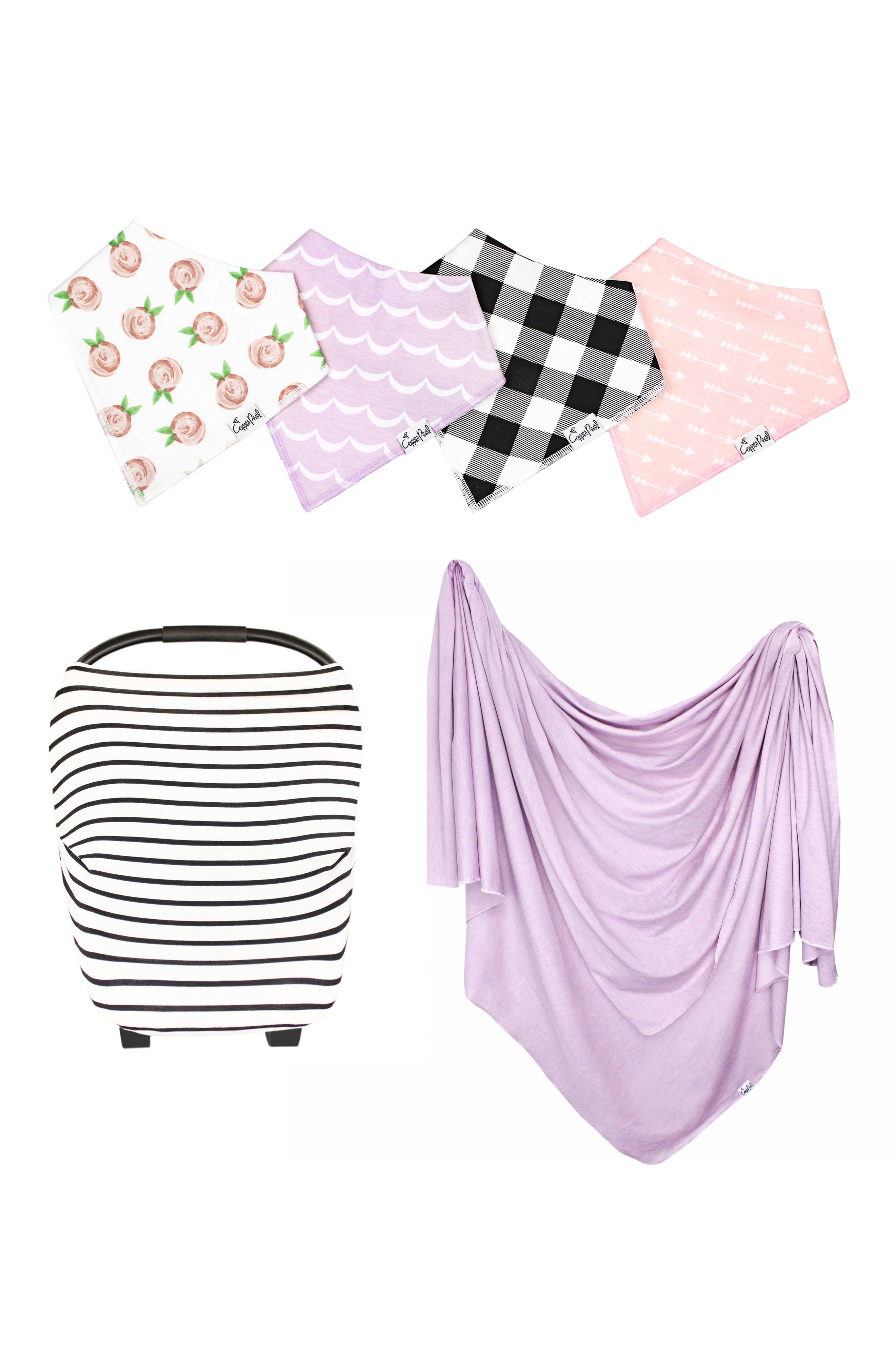 Lily Bib, Multiuse Cover & Swaddle Blanket Gift Set,                             Main thumbnail 1, color,                             LILY