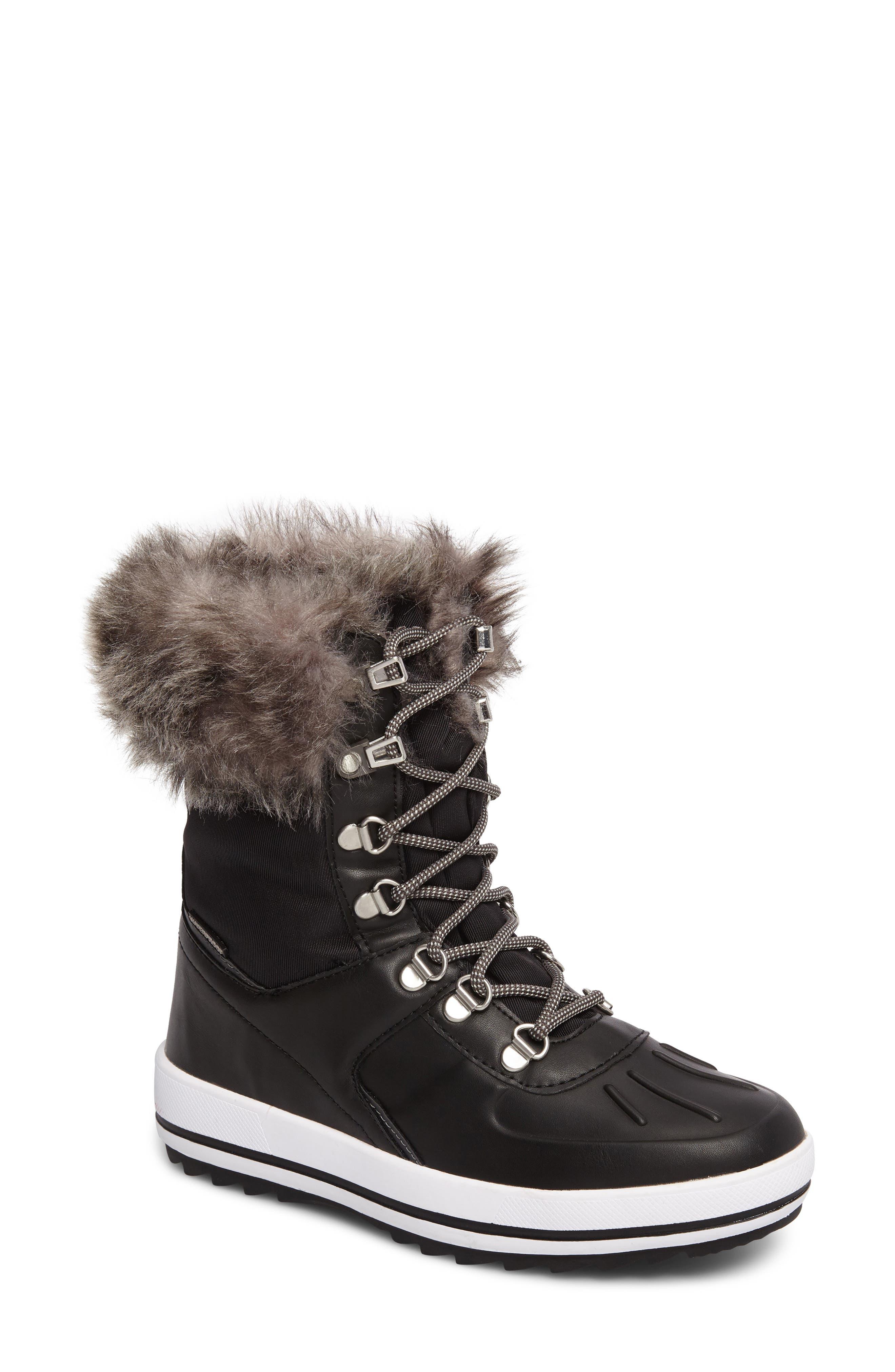 Viper Waterproof Snow Boot with Faux Fur Trim,                             Main thumbnail 1, color,                             BLACK