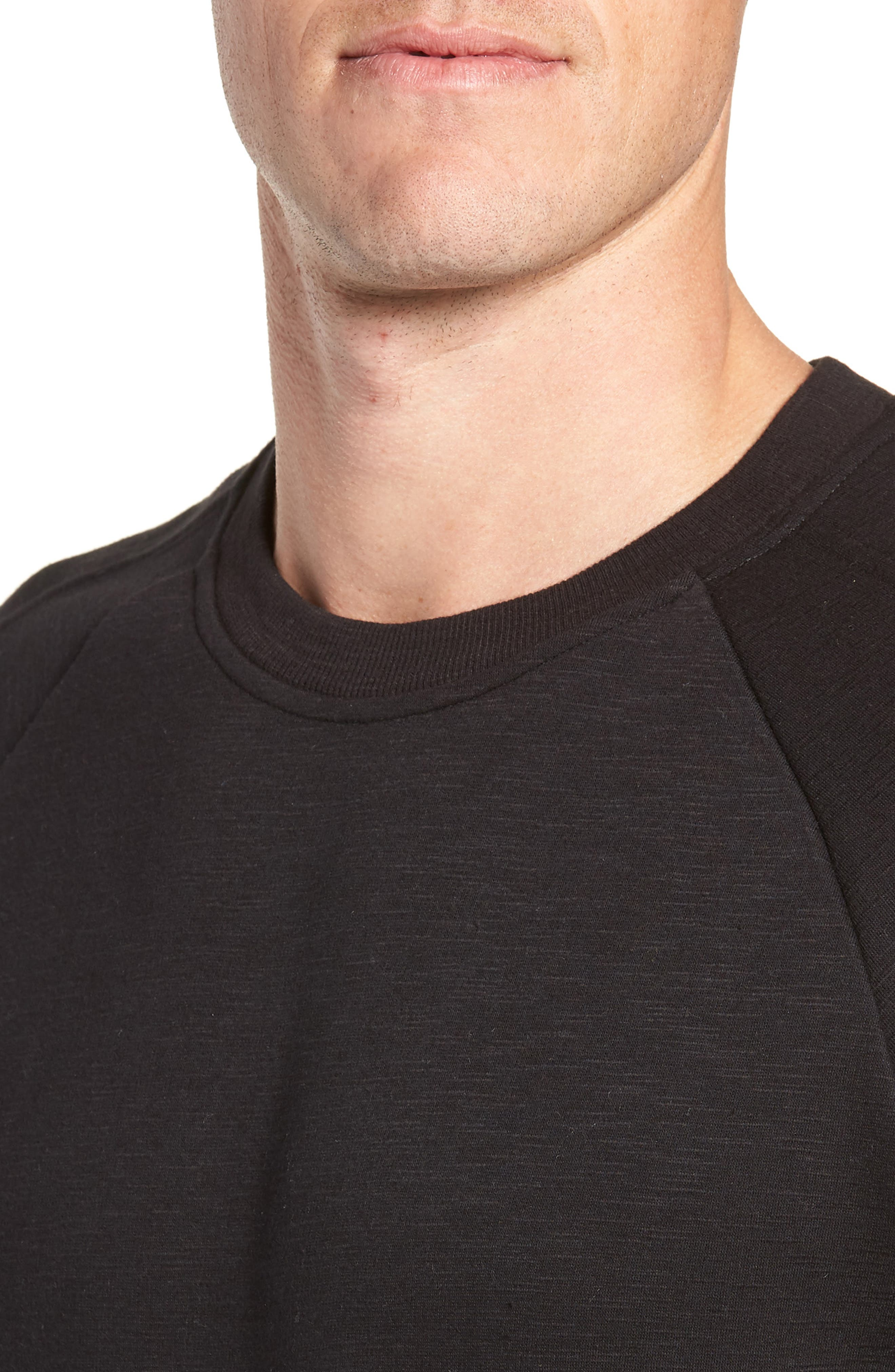 French Terry Moto Pullover,                             Alternate thumbnail 4, color,                             BLACK HEATHER