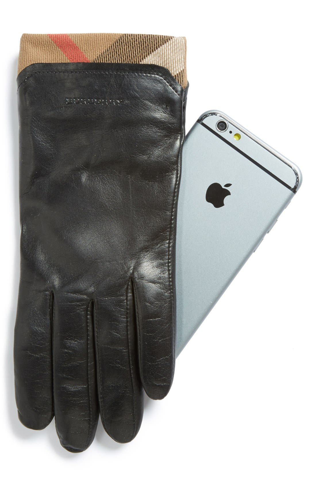 BURBERRY,                             'Jenny - House Check' Touch Tech Leather Gloves,                             Alternate thumbnail 2, color,                             001