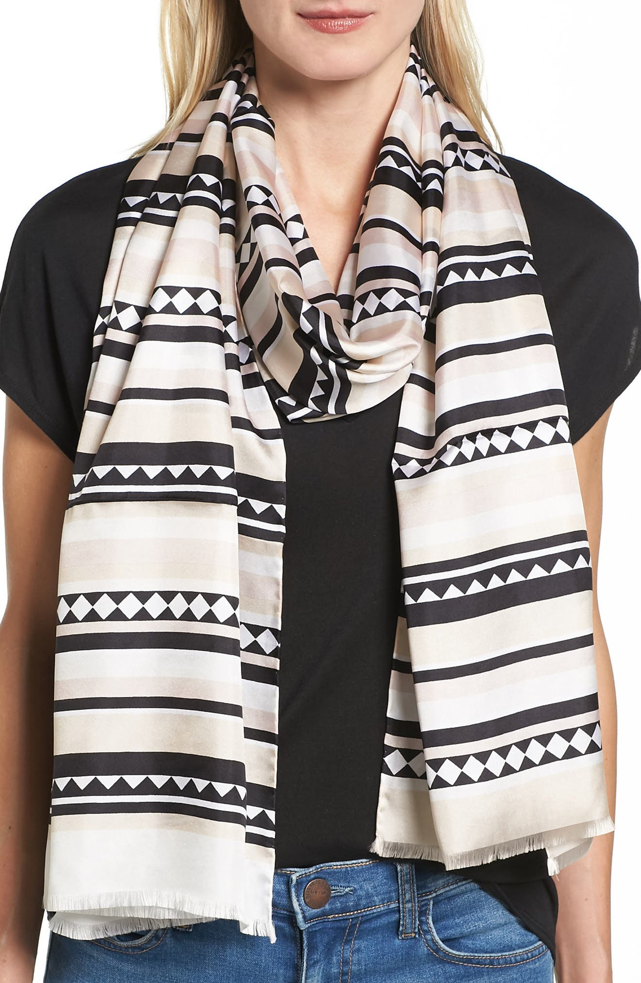 geo stripe silk scarf,                             Main thumbnail 1, color,                             100