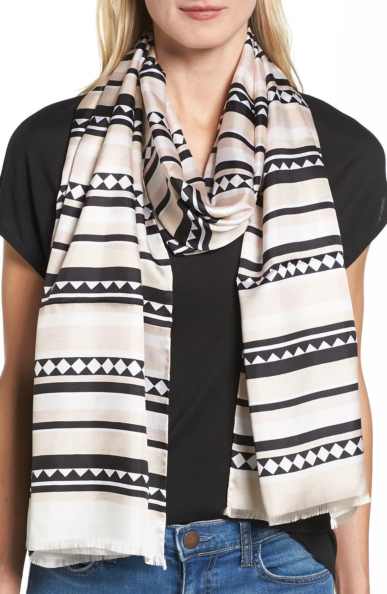 geo stripe silk scarf,                         Main,                         color, 100