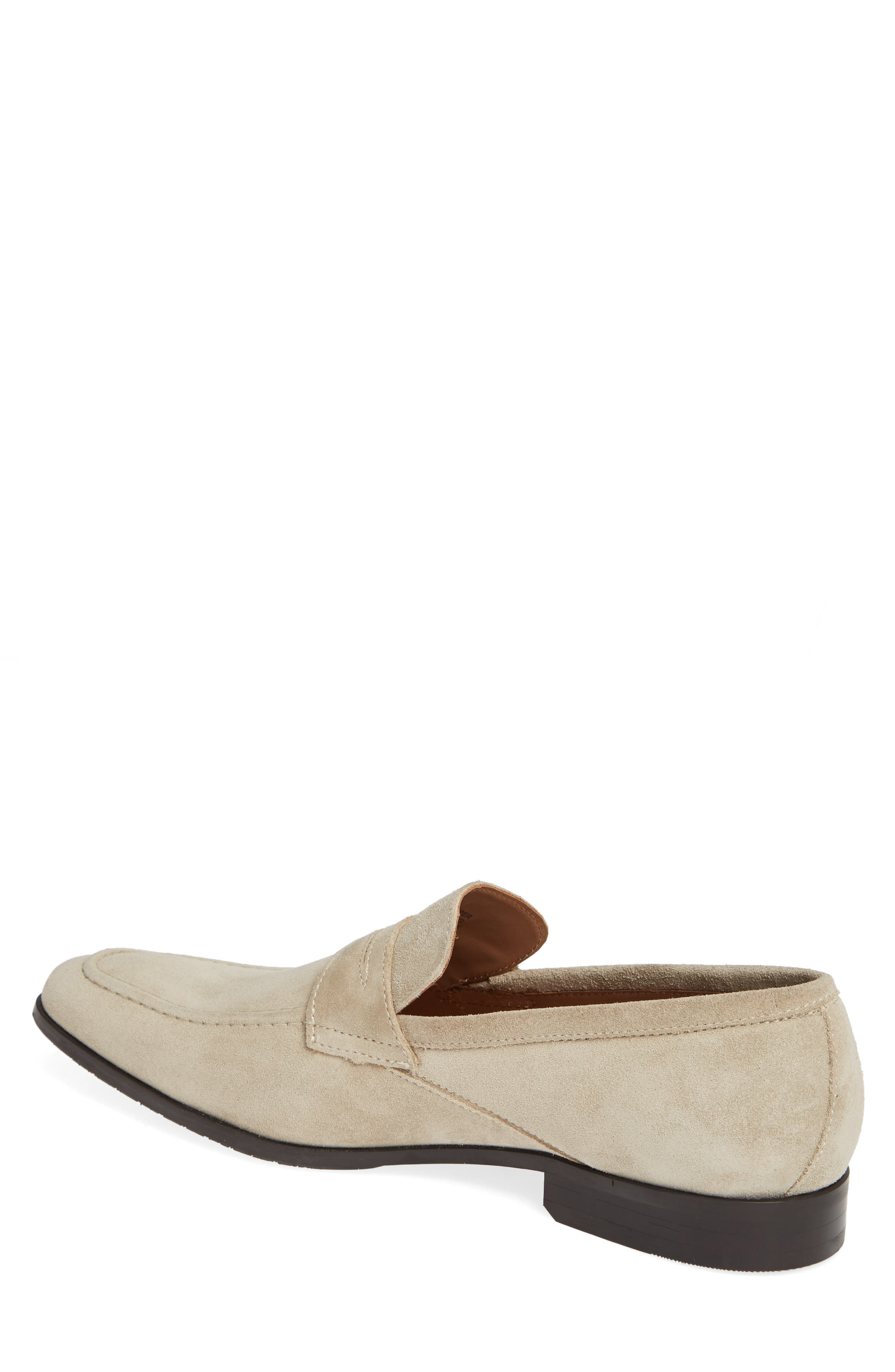 Nicasio Apron Toe Penny Loafer,                             Alternate thumbnail 2, color,                             SAND SUEDE