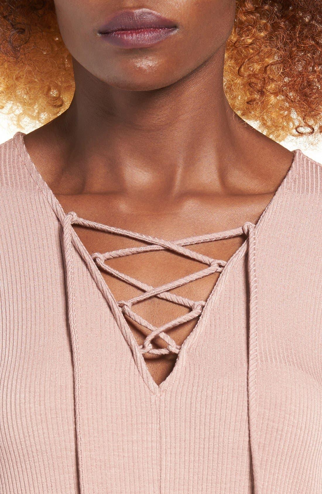 Rib Knit Lace-Up Swing Dress,                             Alternate thumbnail 9, color,