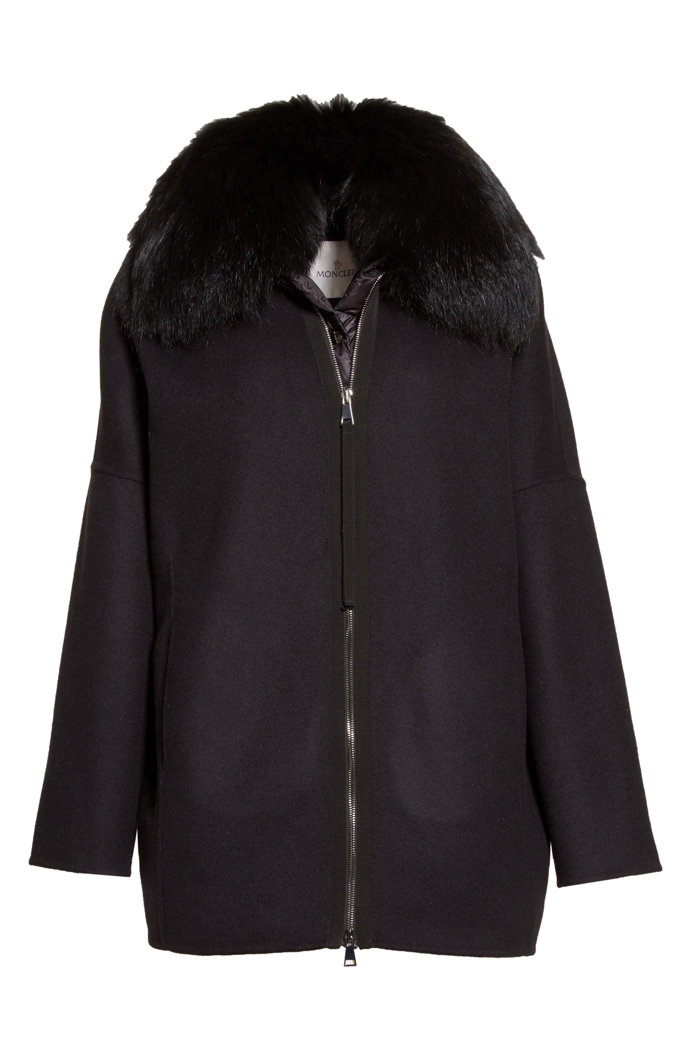 Buxus Wool & Cashmere Coat with Removable Genuine Fox Fur Trim Vest,                             Alternate thumbnail 5, color,                             001