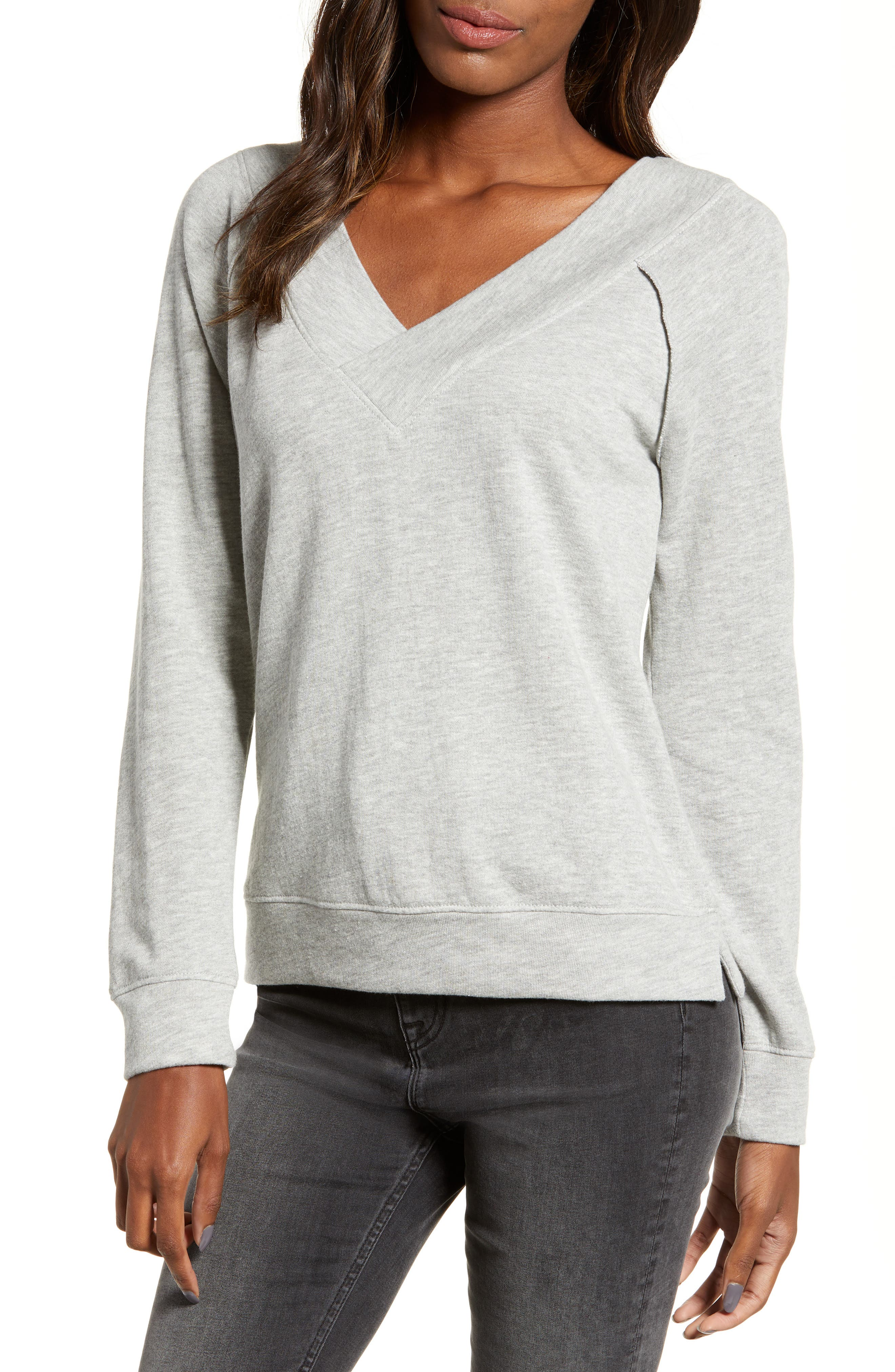 Double V-neck Sweatshirt,                             Main thumbnail 1, color,                             GREY PEARL HEATHER