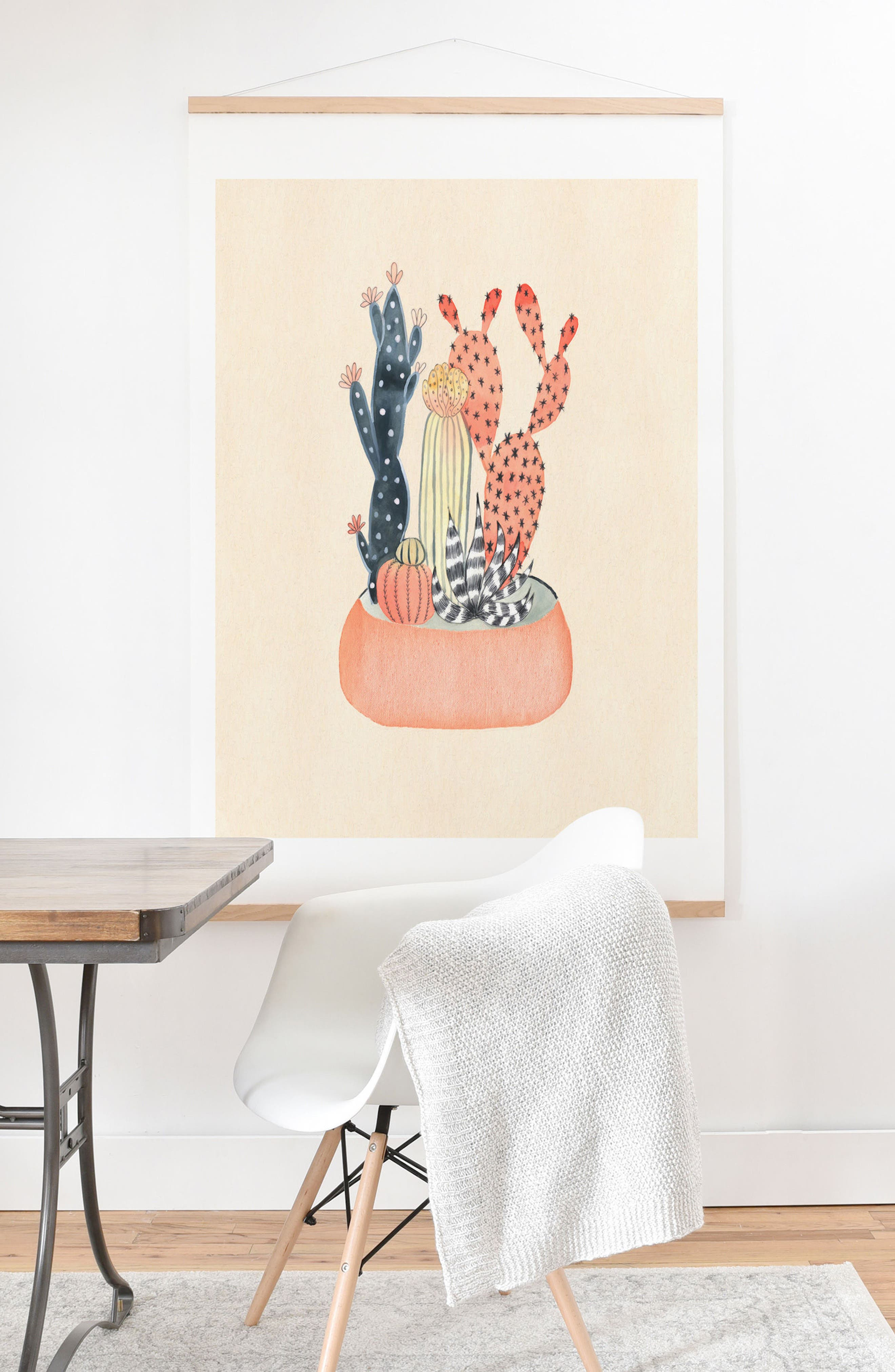 Cactus Print & Oak Hanger,                             Alternate thumbnail 2, color,                             MULTI