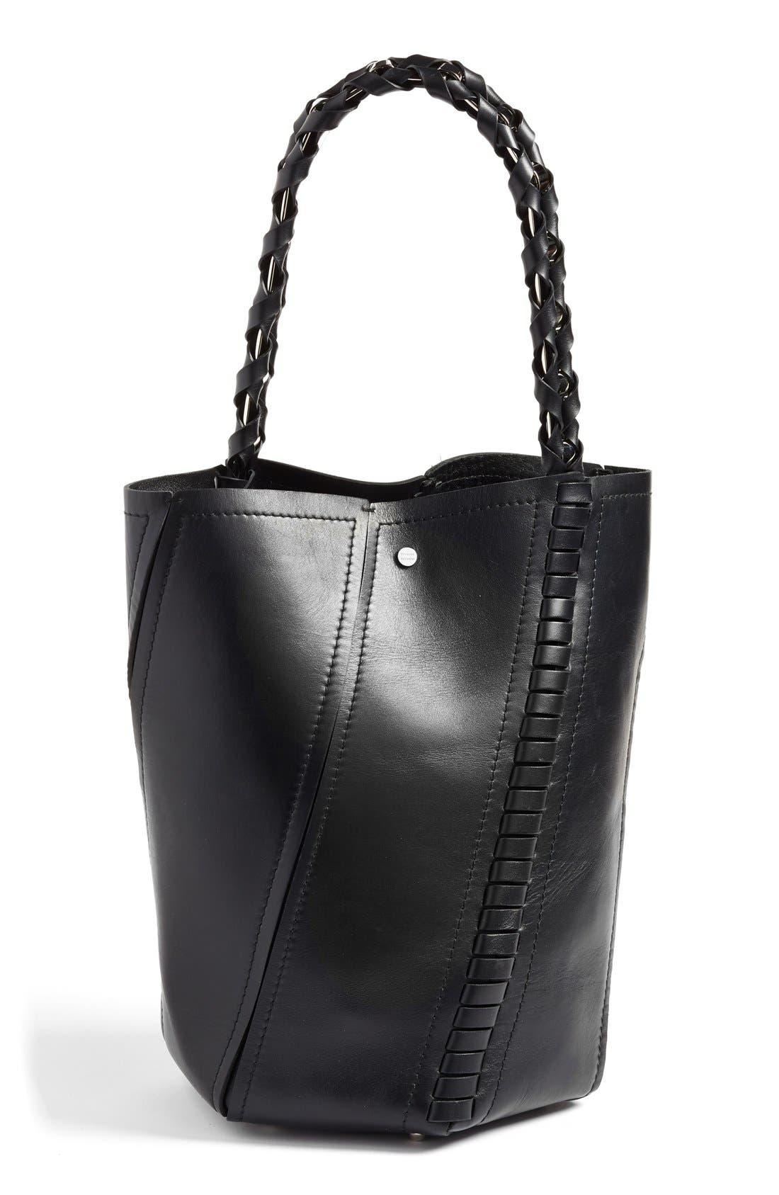 'Medium Hex' Whipstitch Leather Bucket Bag,                             Alternate thumbnail 2, color,                             001