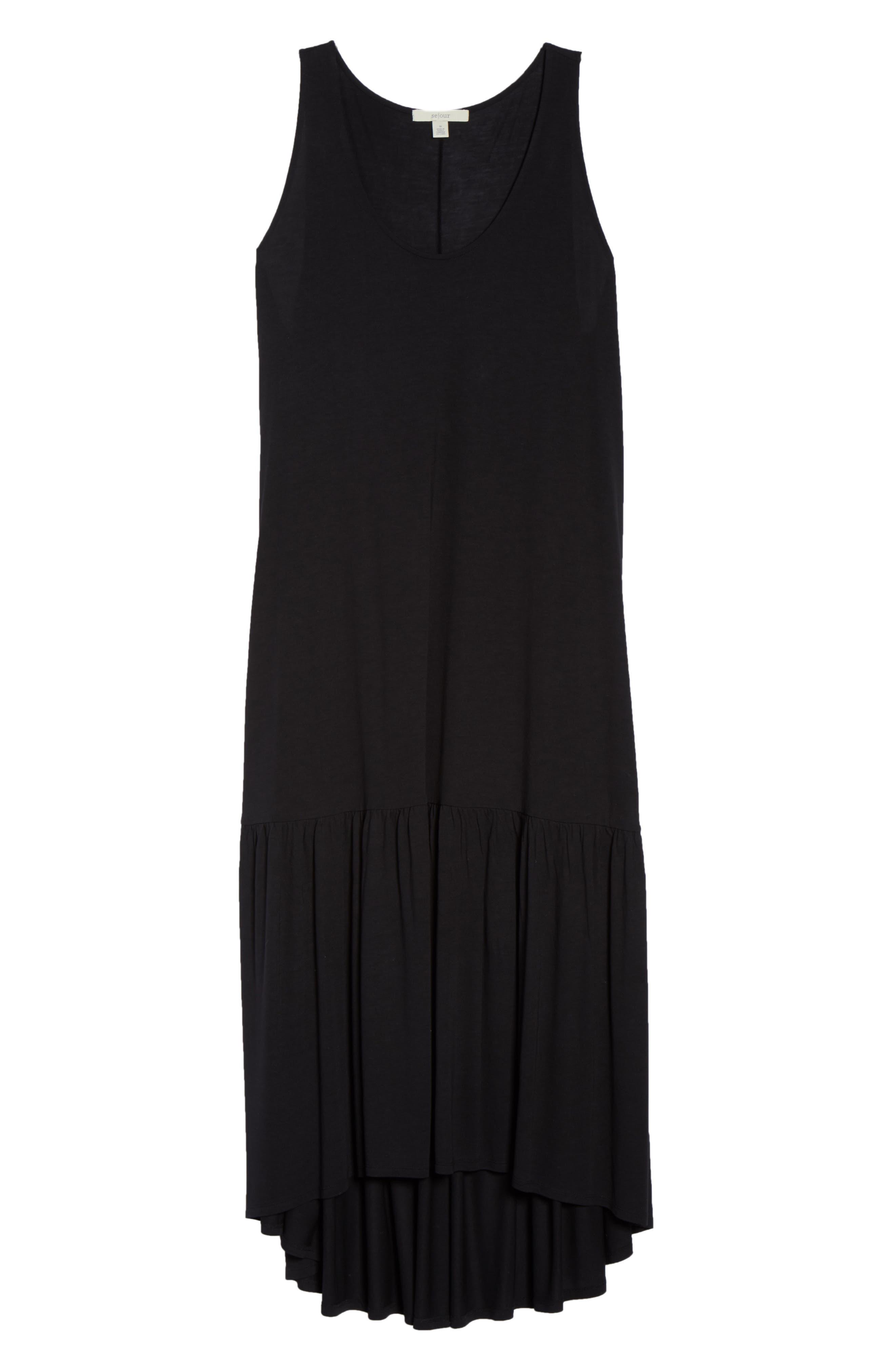Sleeveless High/Low Knit Maxi Dress,                             Alternate thumbnail 7, color,                             001