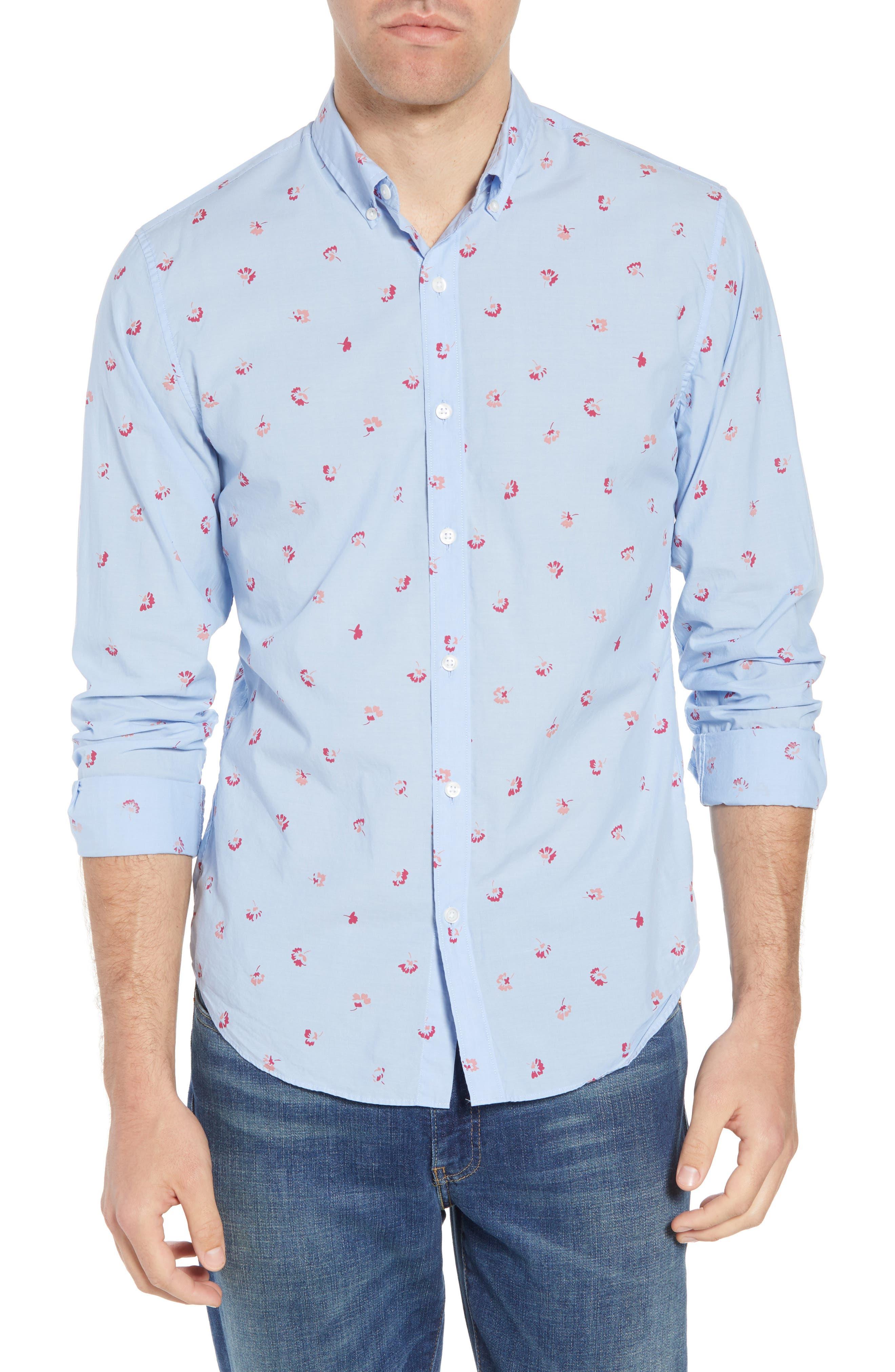 Slim Fit Floral Sport Shirt,                             Main thumbnail 1, color,
