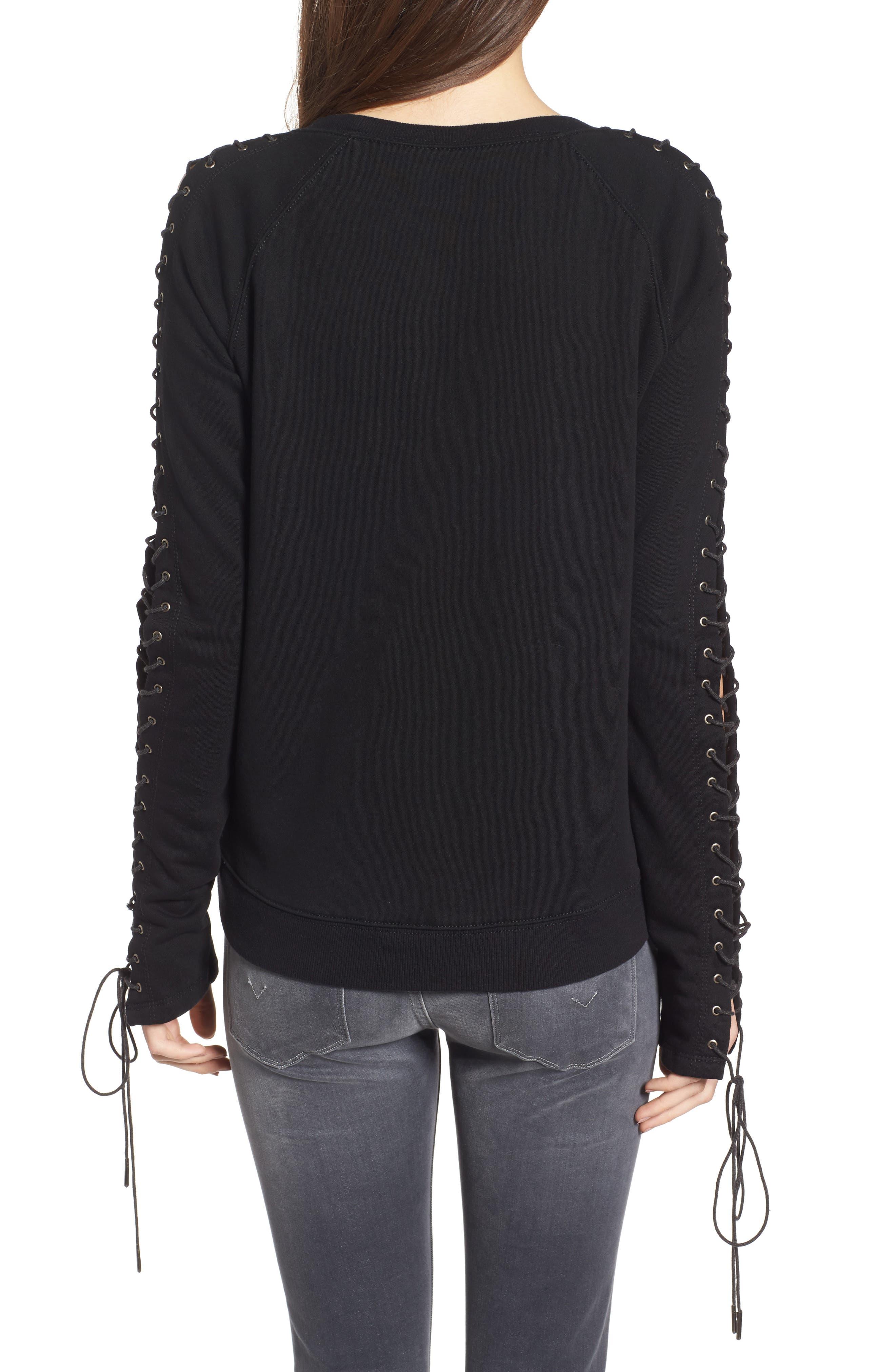 Lace-Up Sleeve Sweatshirt,                             Alternate thumbnail 2, color,                             001