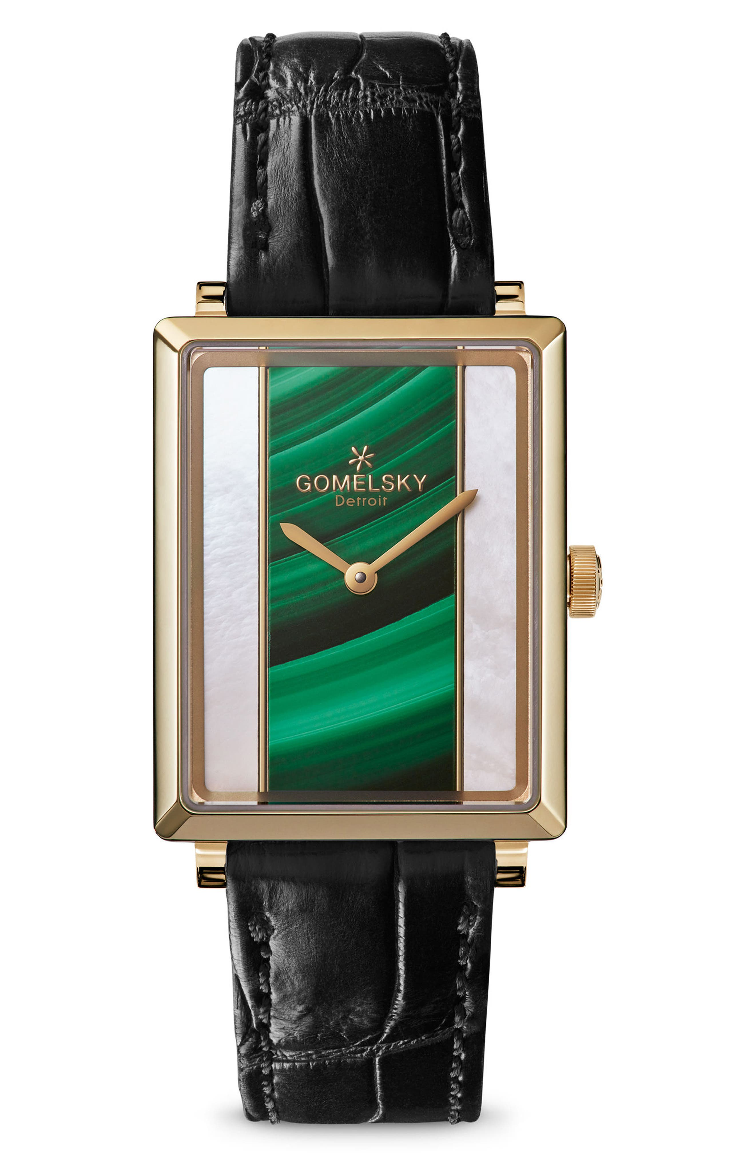 The Shirley Fromer Alligator Strap Watch, 32mm x 25mm,                         Main,                         color, BLACK/ MOP MALACHITE/ GOLD