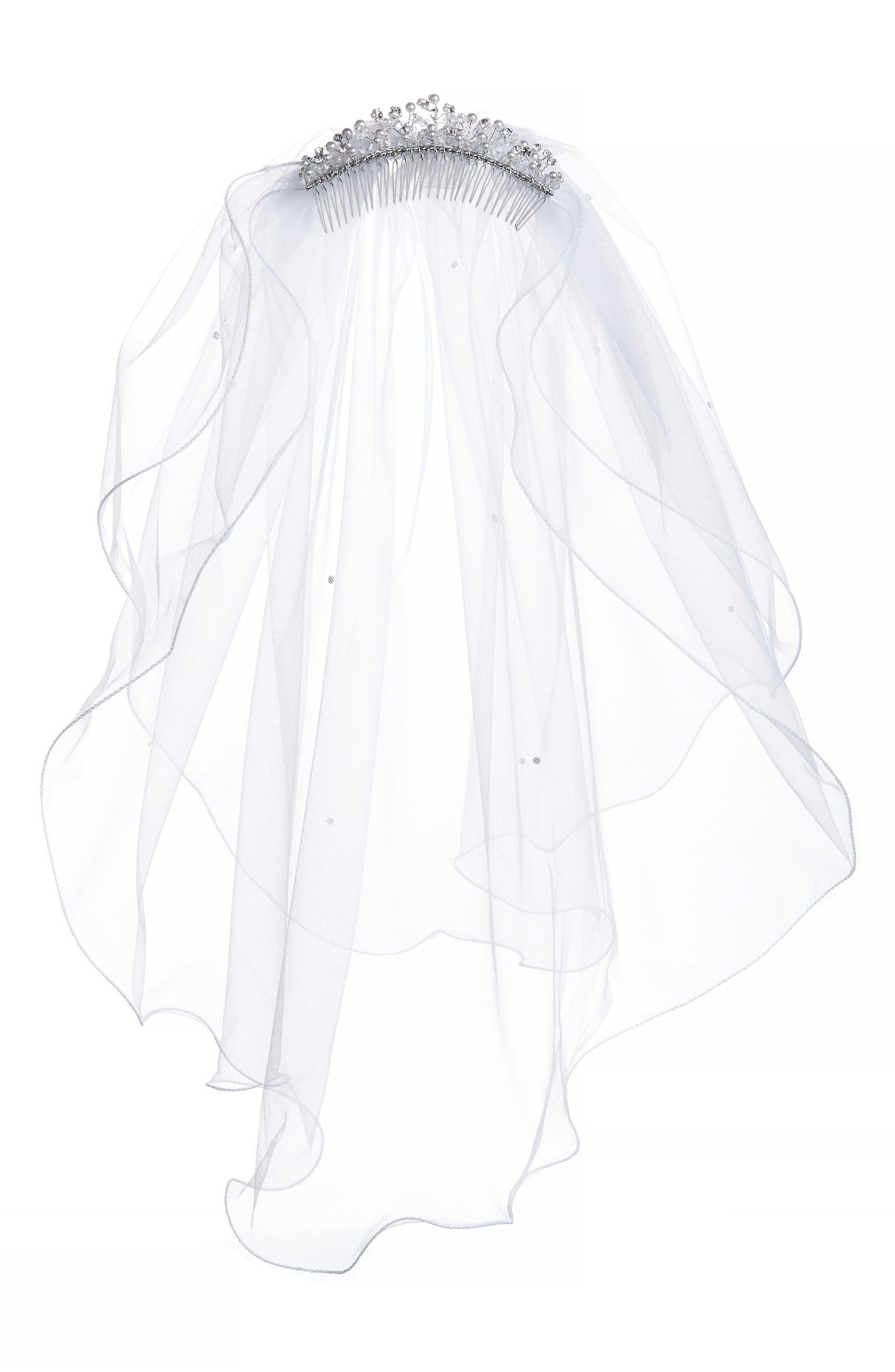 Imitation Pearl Crown & Veil,                             Main thumbnail 1, color,                             WHITE