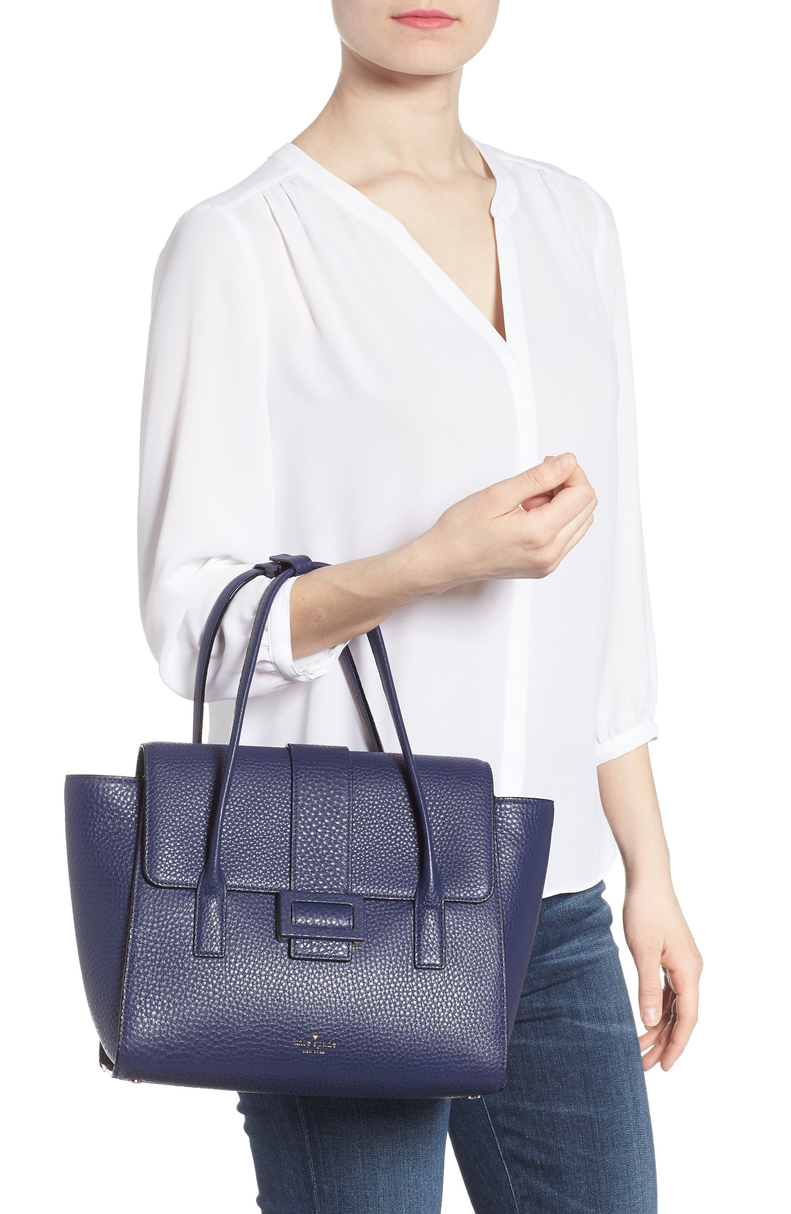 carlyle street - alexa leather satchel,                             Alternate thumbnail 4, color,