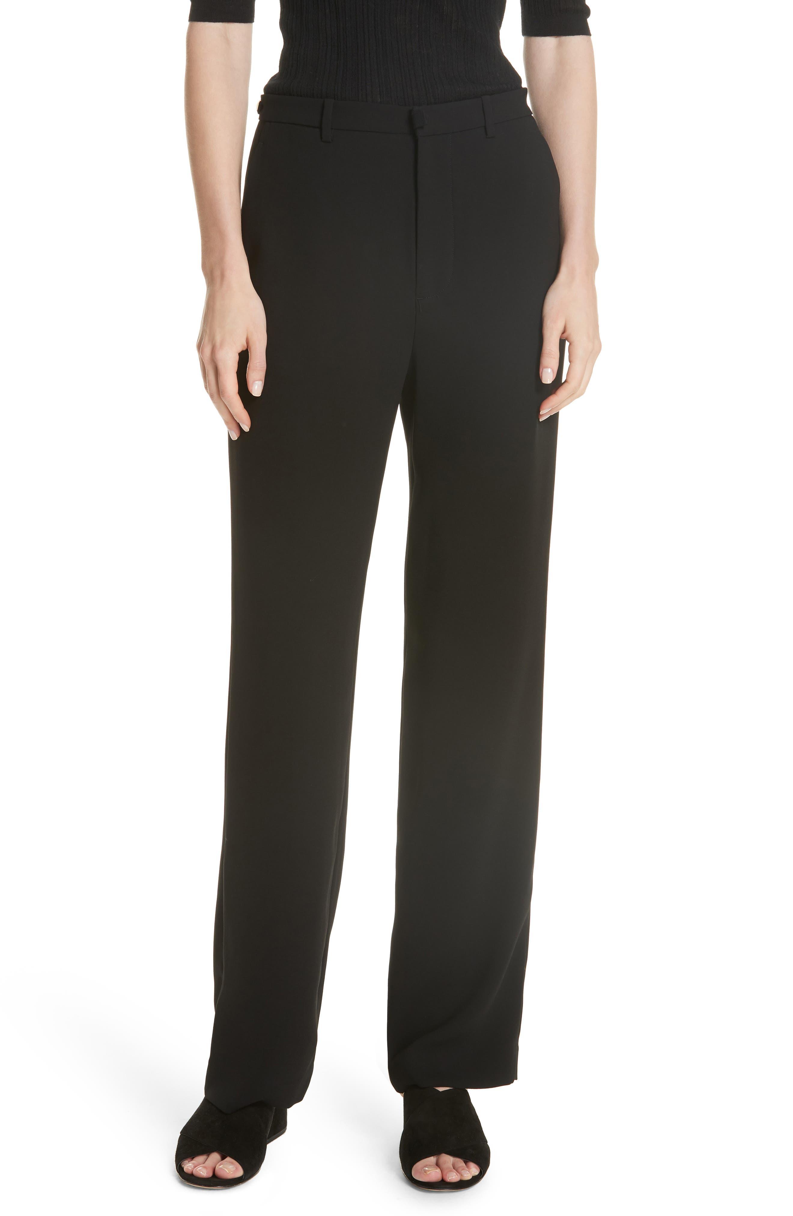 High Waist Straight Leg Pants,                         Main,                         color, BLACK